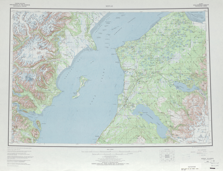 Hoja Kenai del Mapa Topográfico de los Estados Unidos 1969