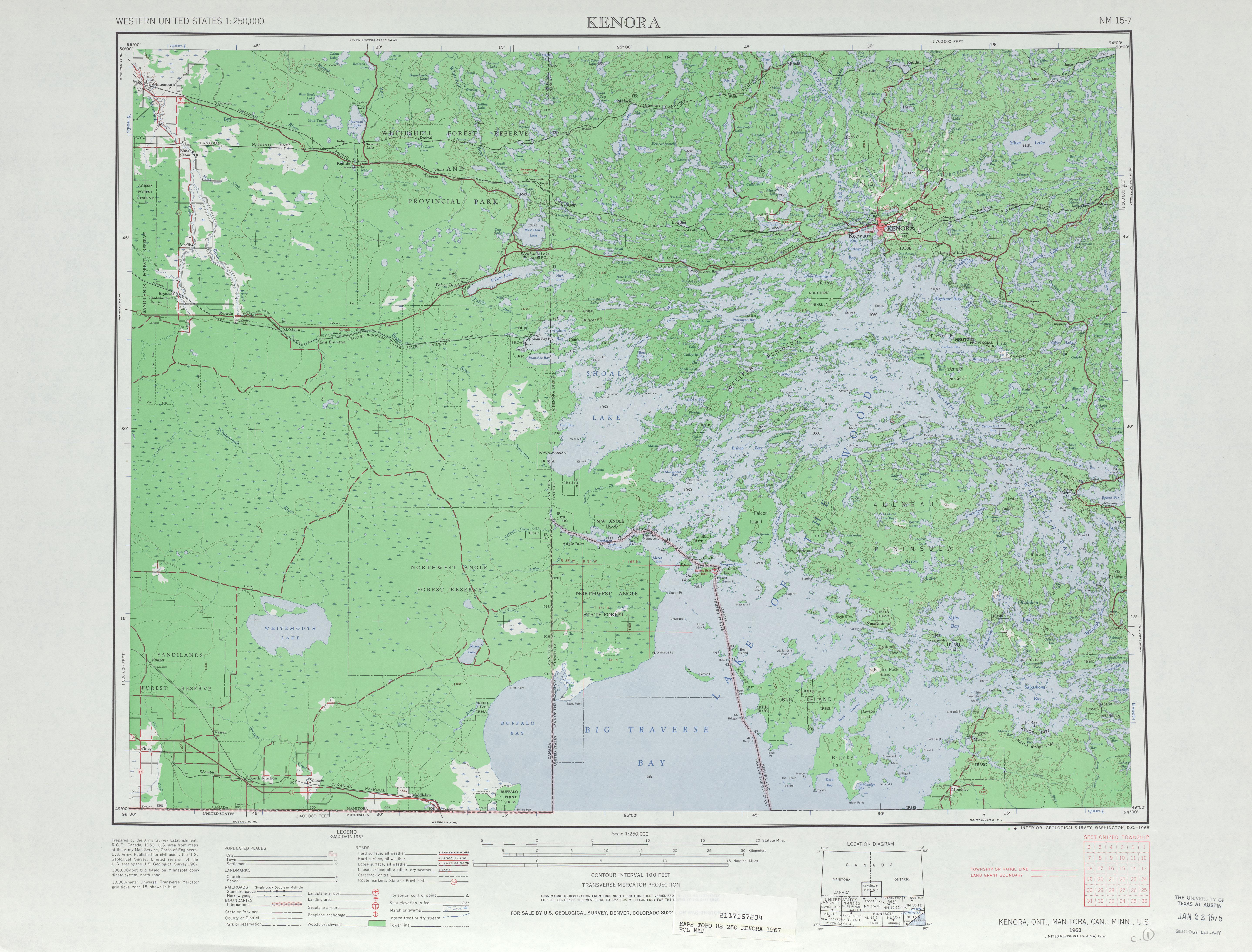 Hoja Kenora del Mapa Topográfico de los Estados Unidos 1967