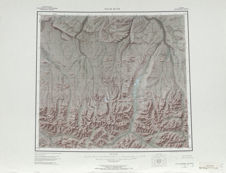 Hoja Killik River del Mapa de Relieve Sombreado de los Estados Unidos 1969