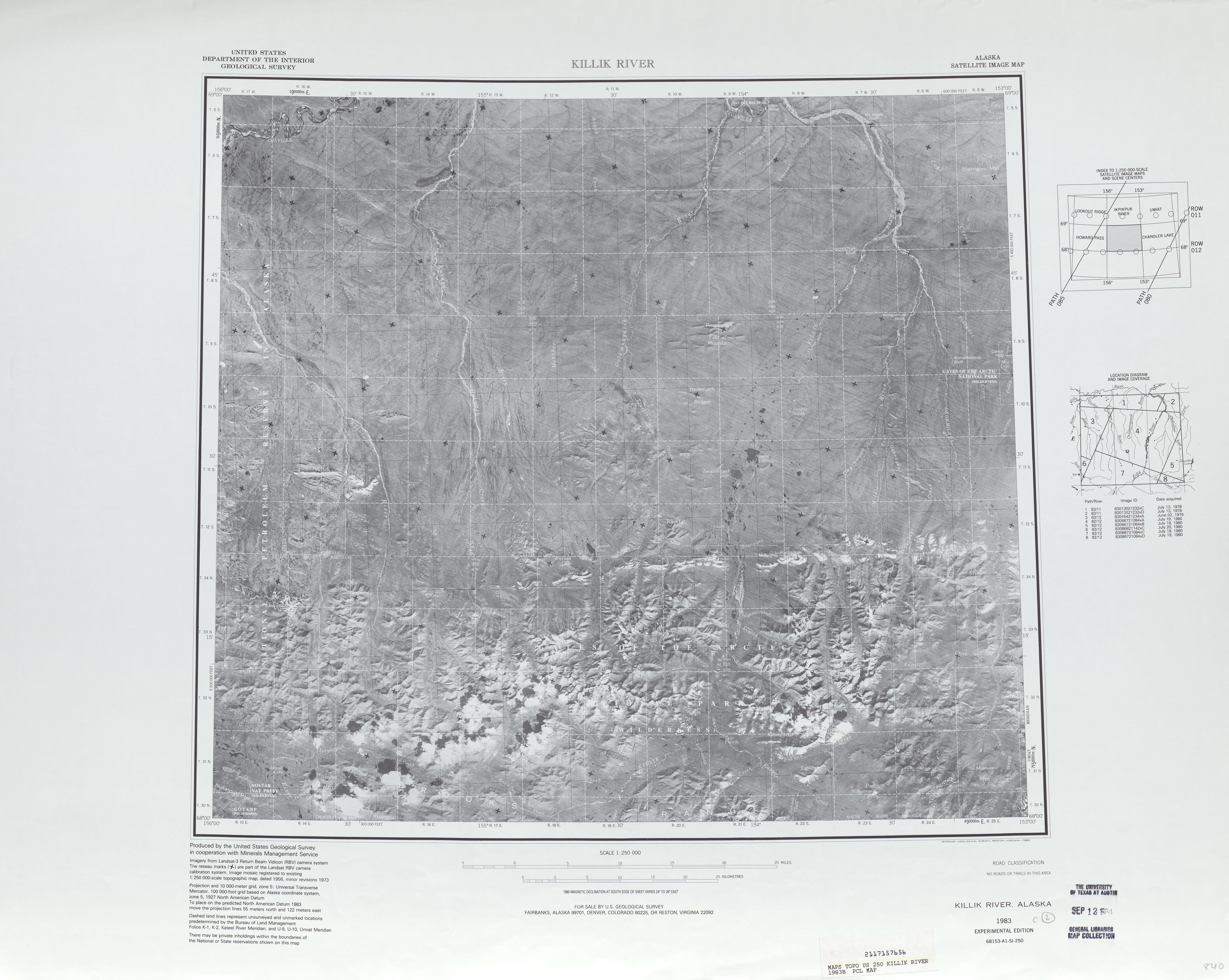 Killik Satellite Image Map Map Sheet, United States 1983