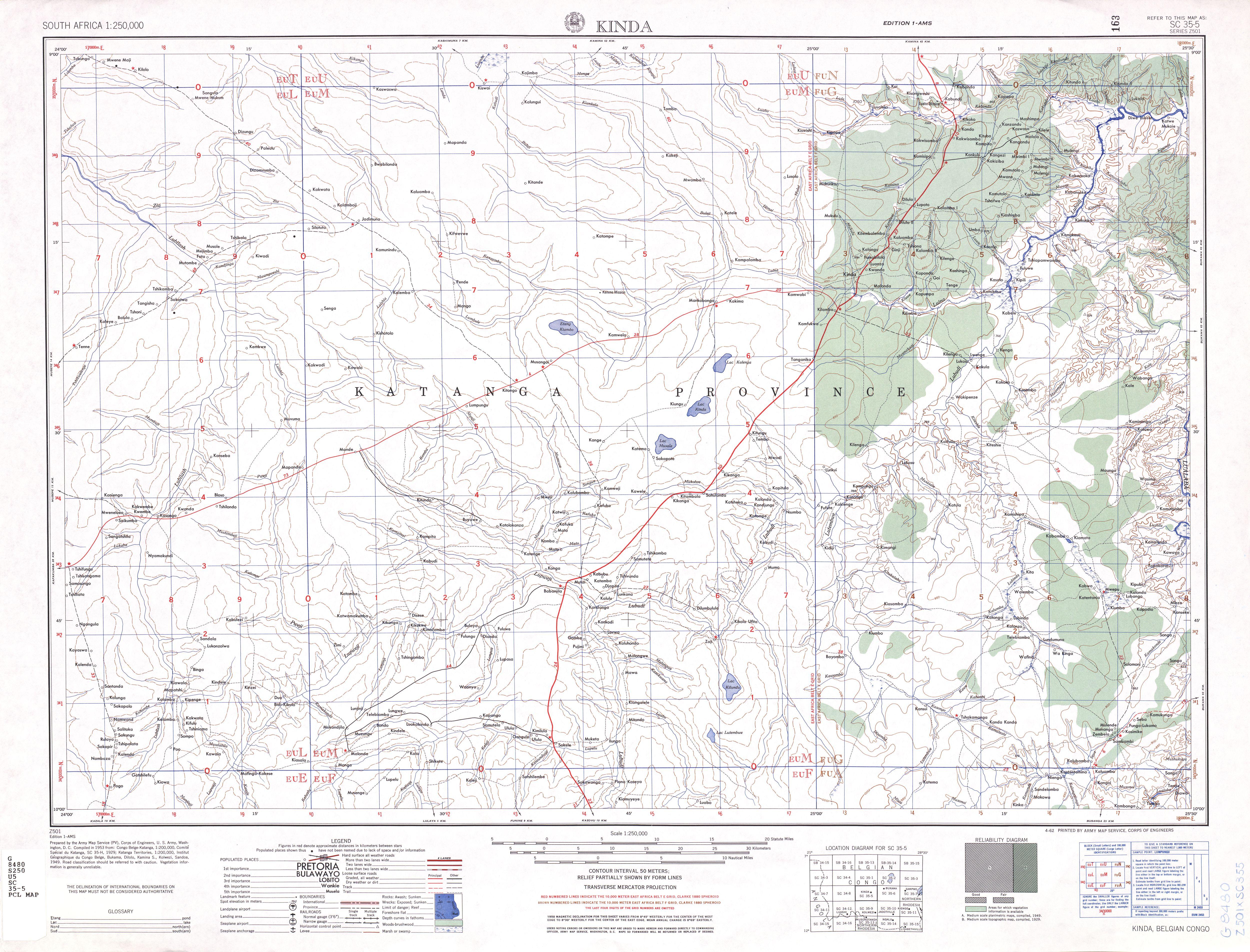 Hoja Kinda del Mapa Topográfico de África Meridional 1954