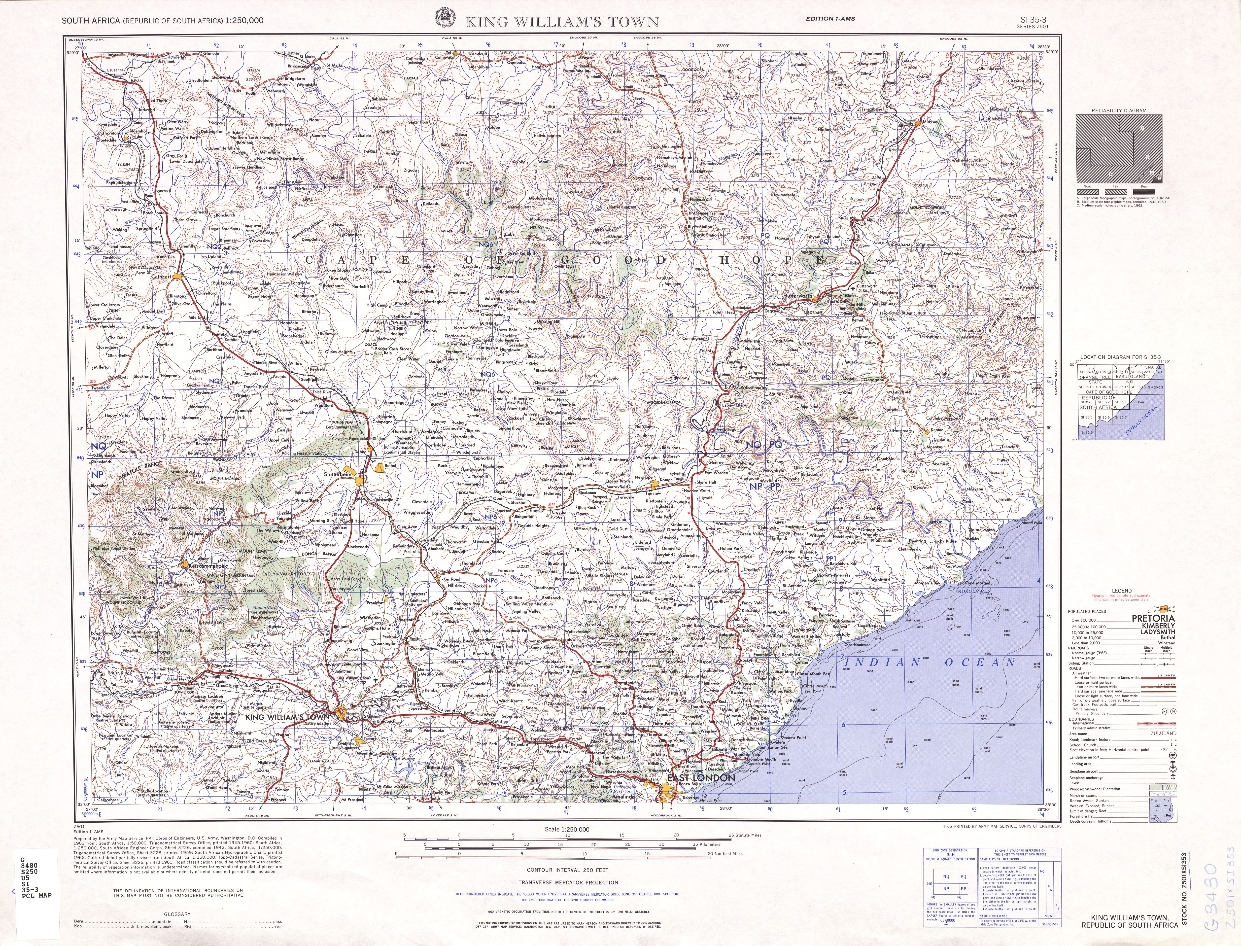 King William's Town Topographic Map Sheet, Southern Africa 1954