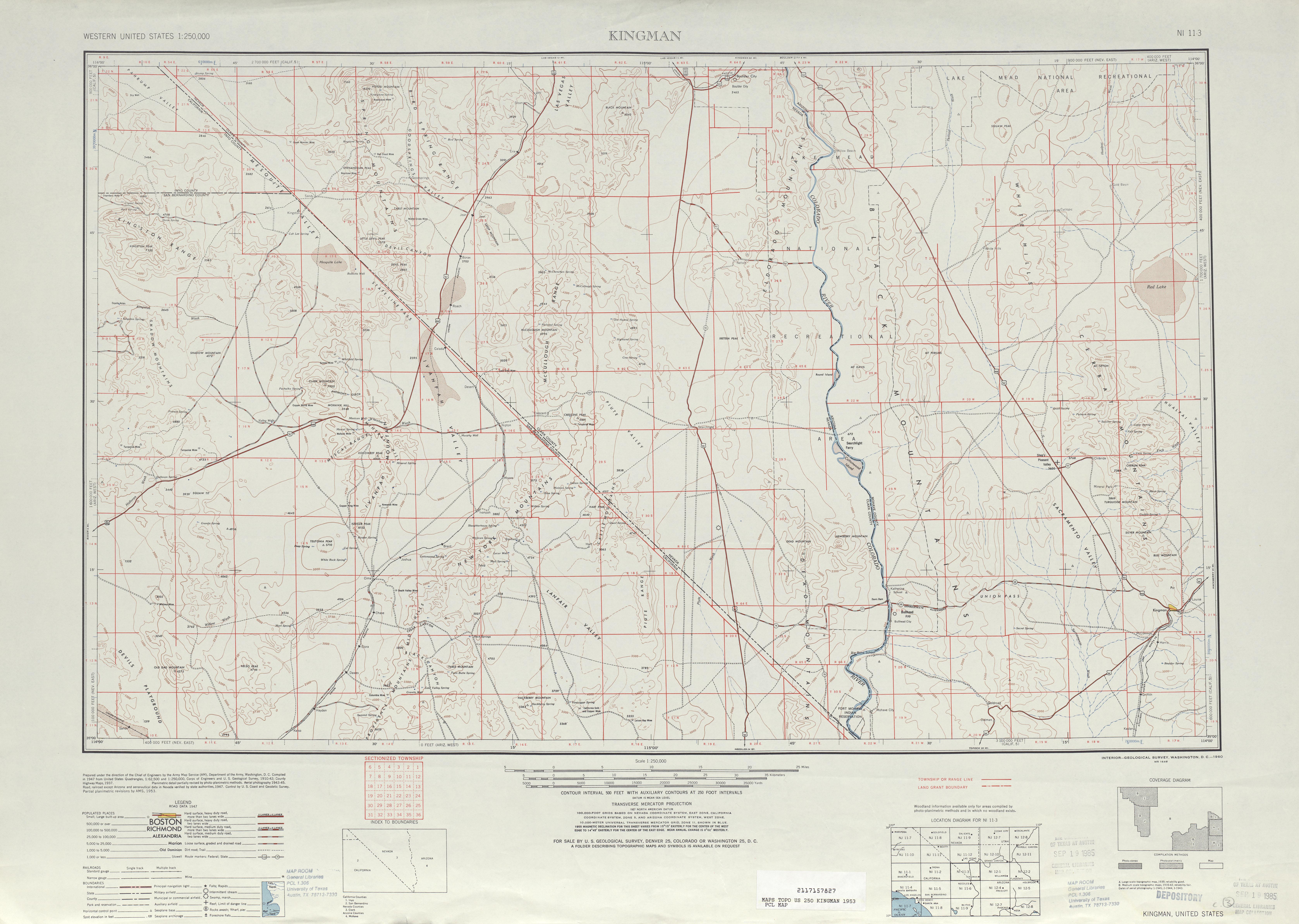 Hoja Kingman del Mapa Topográfico de los Estados Unidos 1953