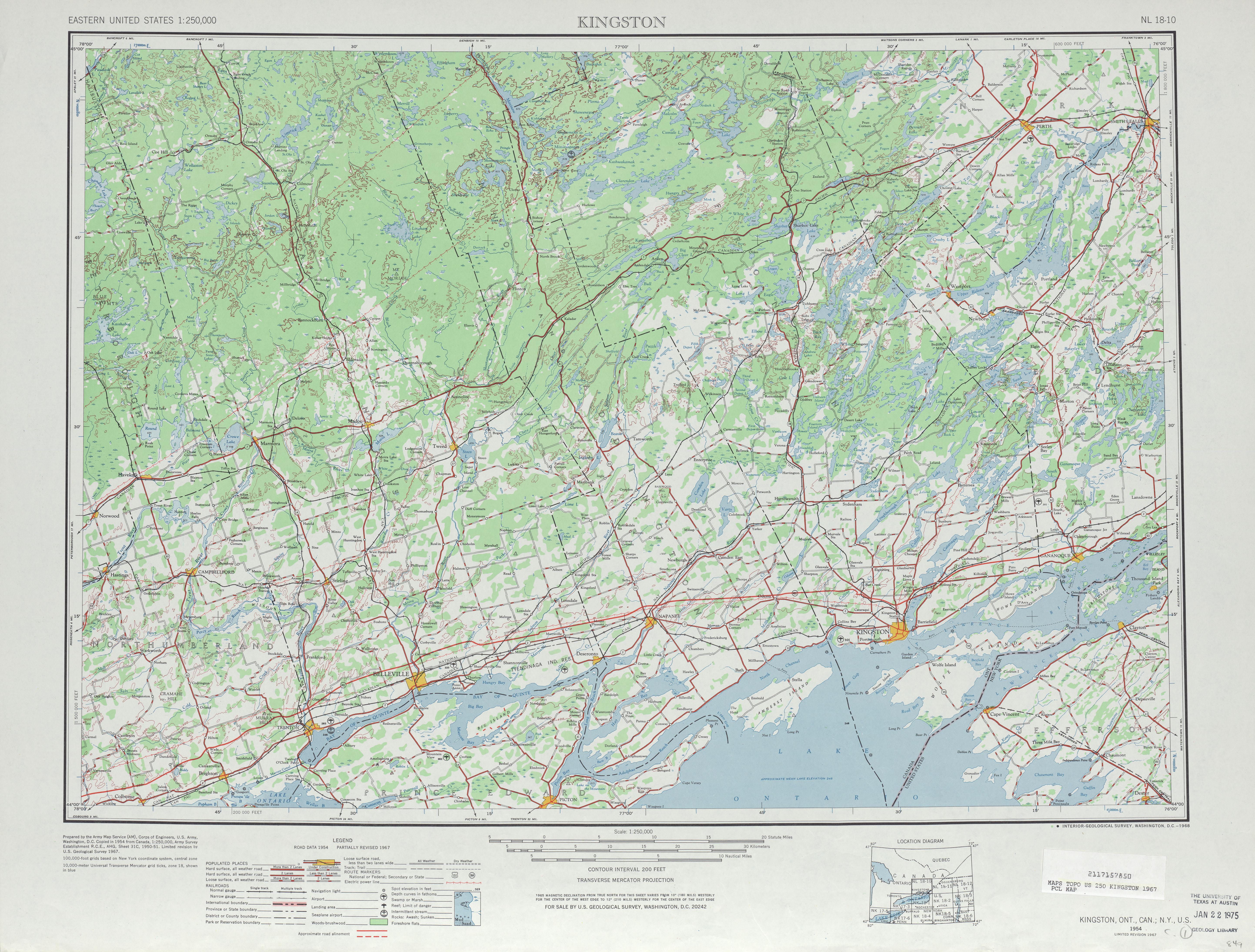 Hoja Kingston del Mapa Topográfico de los Estados Unidos 1967