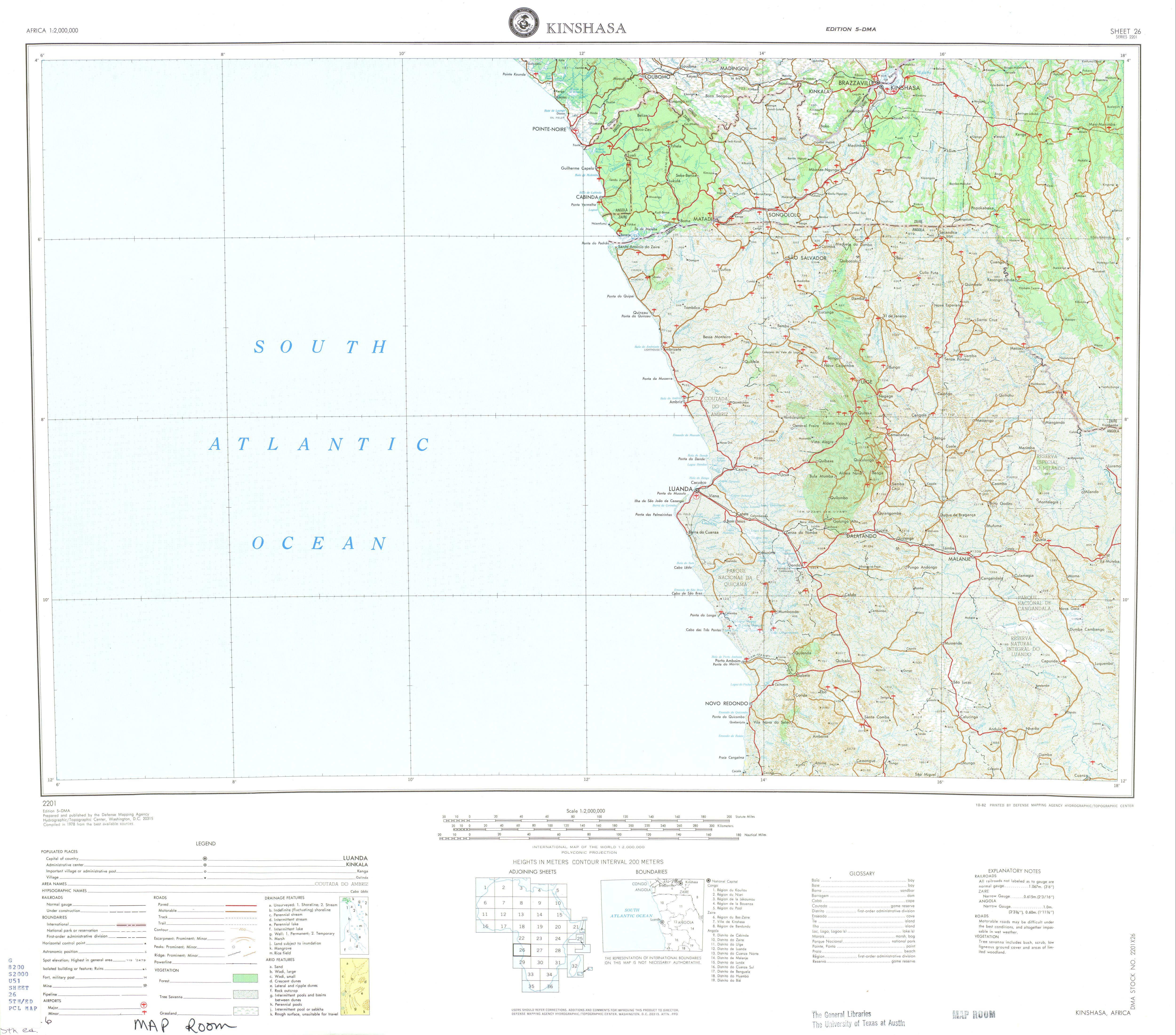 Hoja Kinshasa del Mapa Topográfico de África 1978