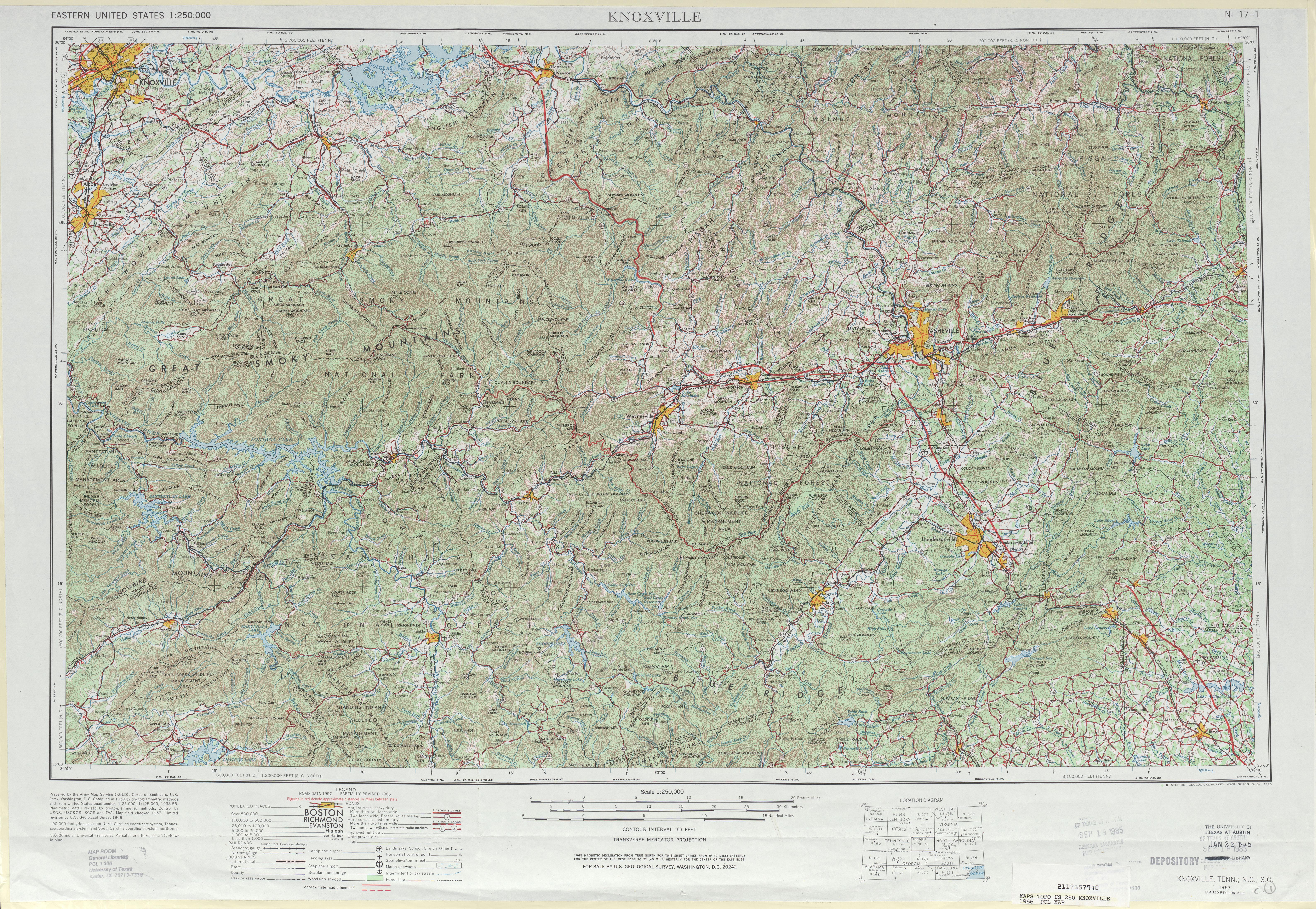 Hoja Knoxville del Mapa Topográfico de los Estados Unidos 1966