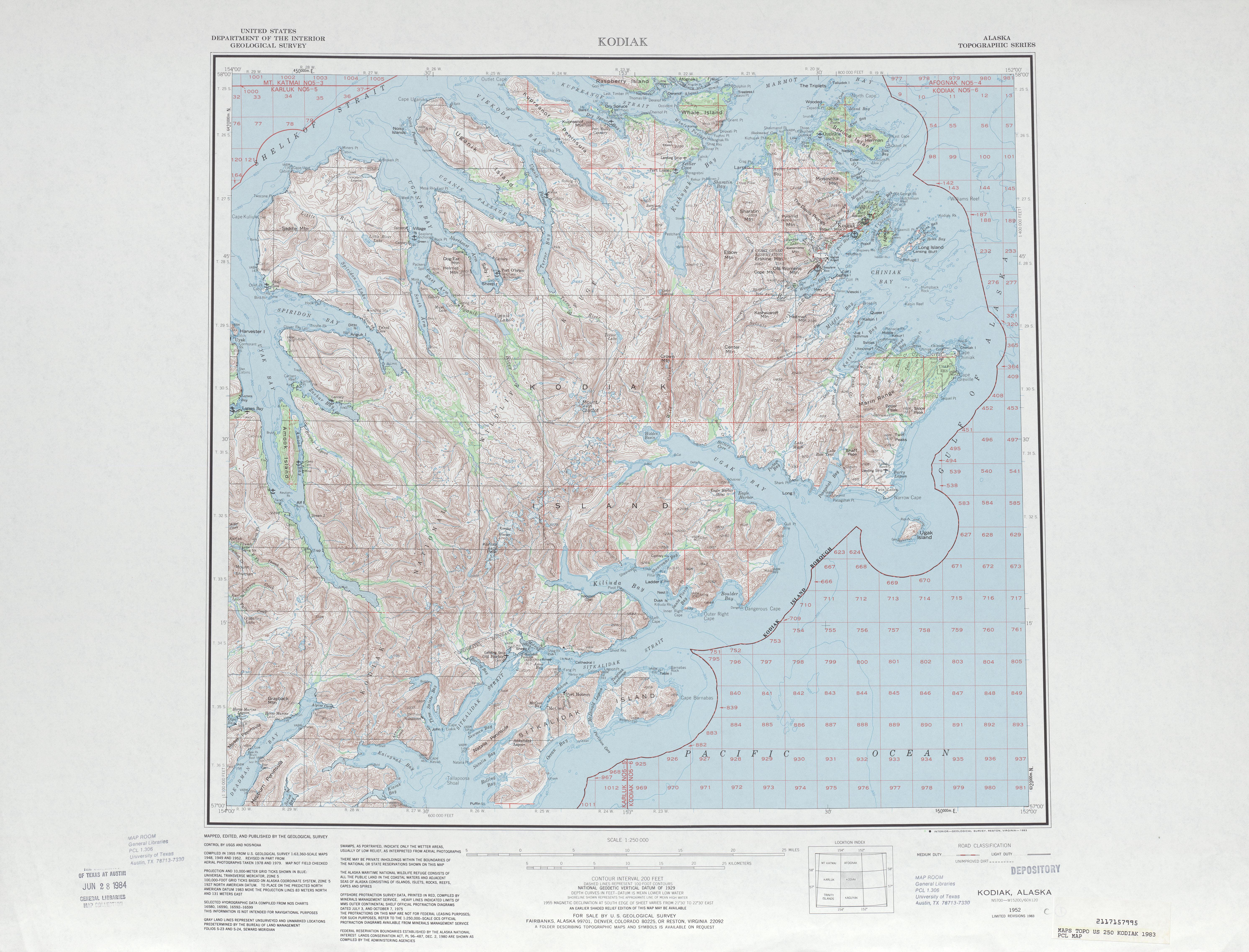 Hoja Kodiak del Mapa Topográfico de los Estados Unidos 1983