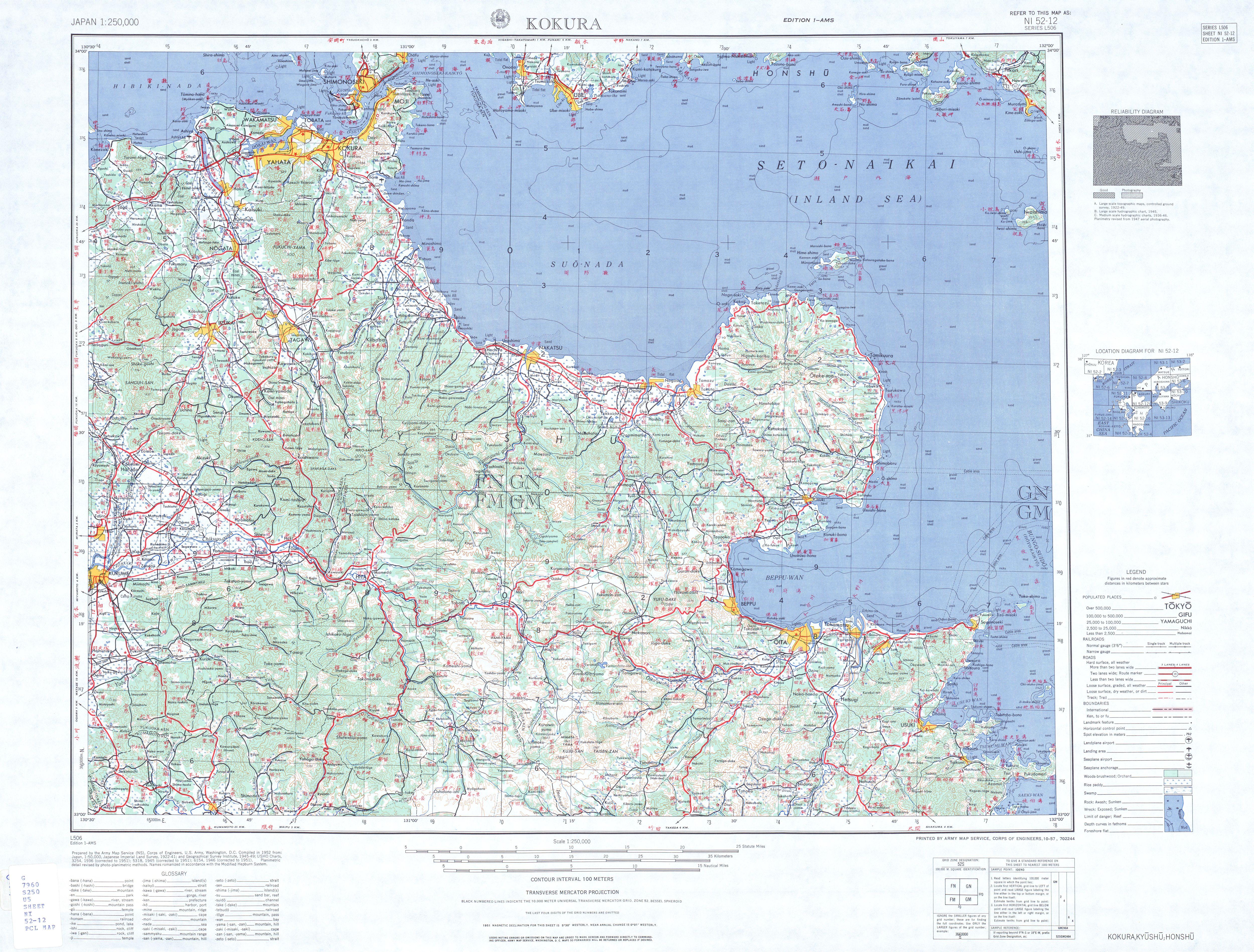 Hoja Kokura del Mapa Topográfico de Japón 1954