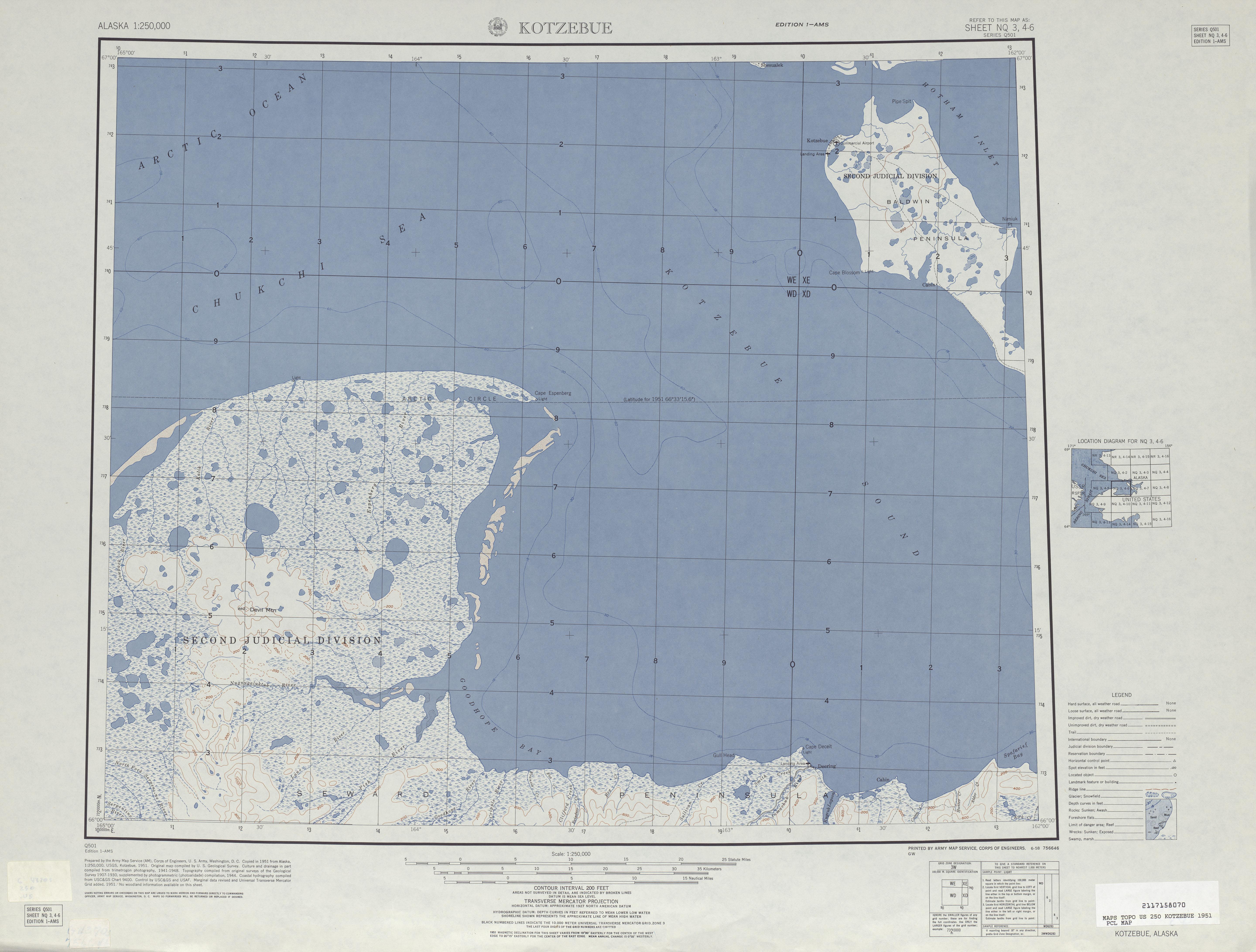 Hoja Kotzebue del Mapa de Relieve Sombreado de los Estados Unidos 1951