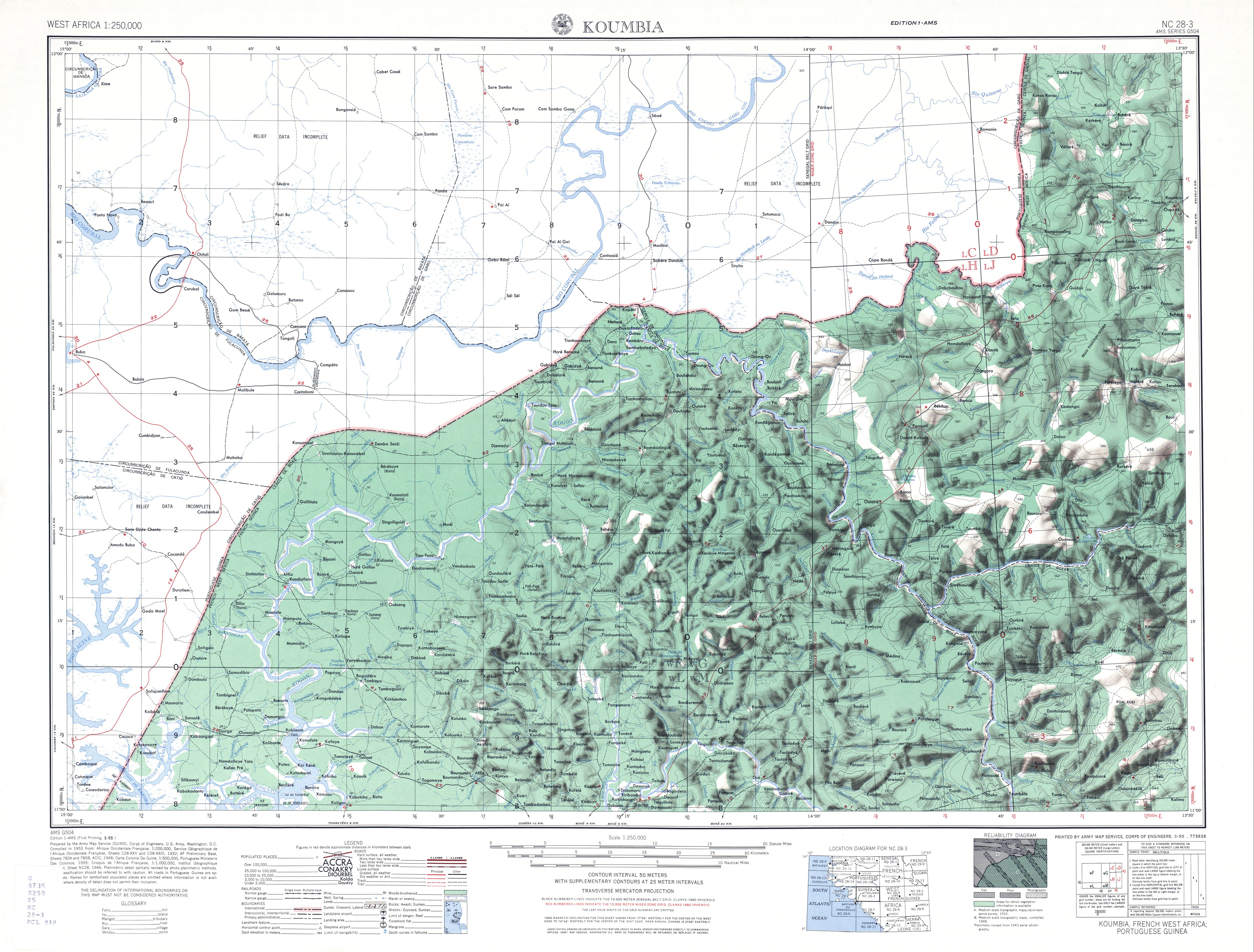 Hoja Koumbia del Mapa Topográfico de África Occidental 1955