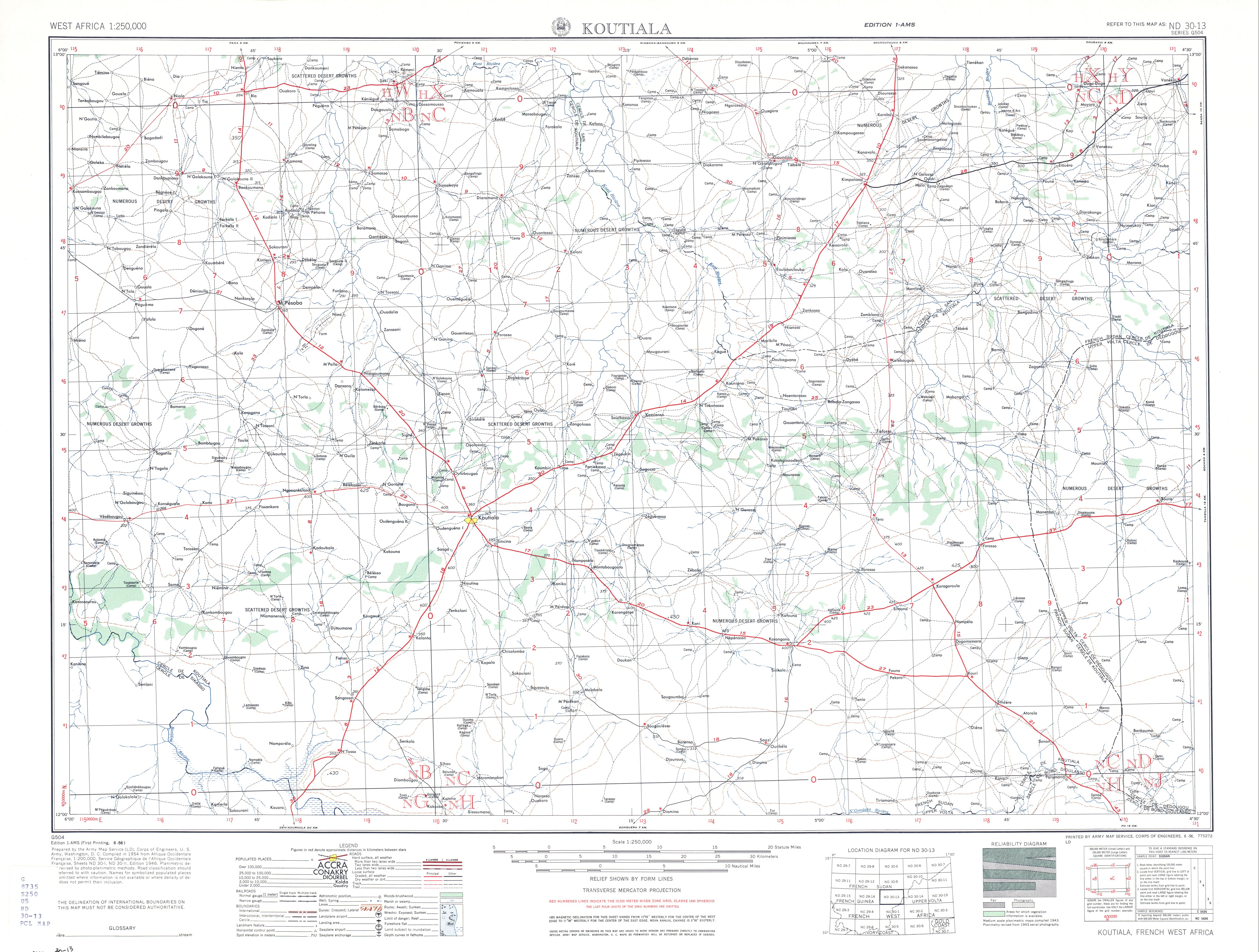 Hoja Koutiala del Mapa Topográfico de África Occidental 1955