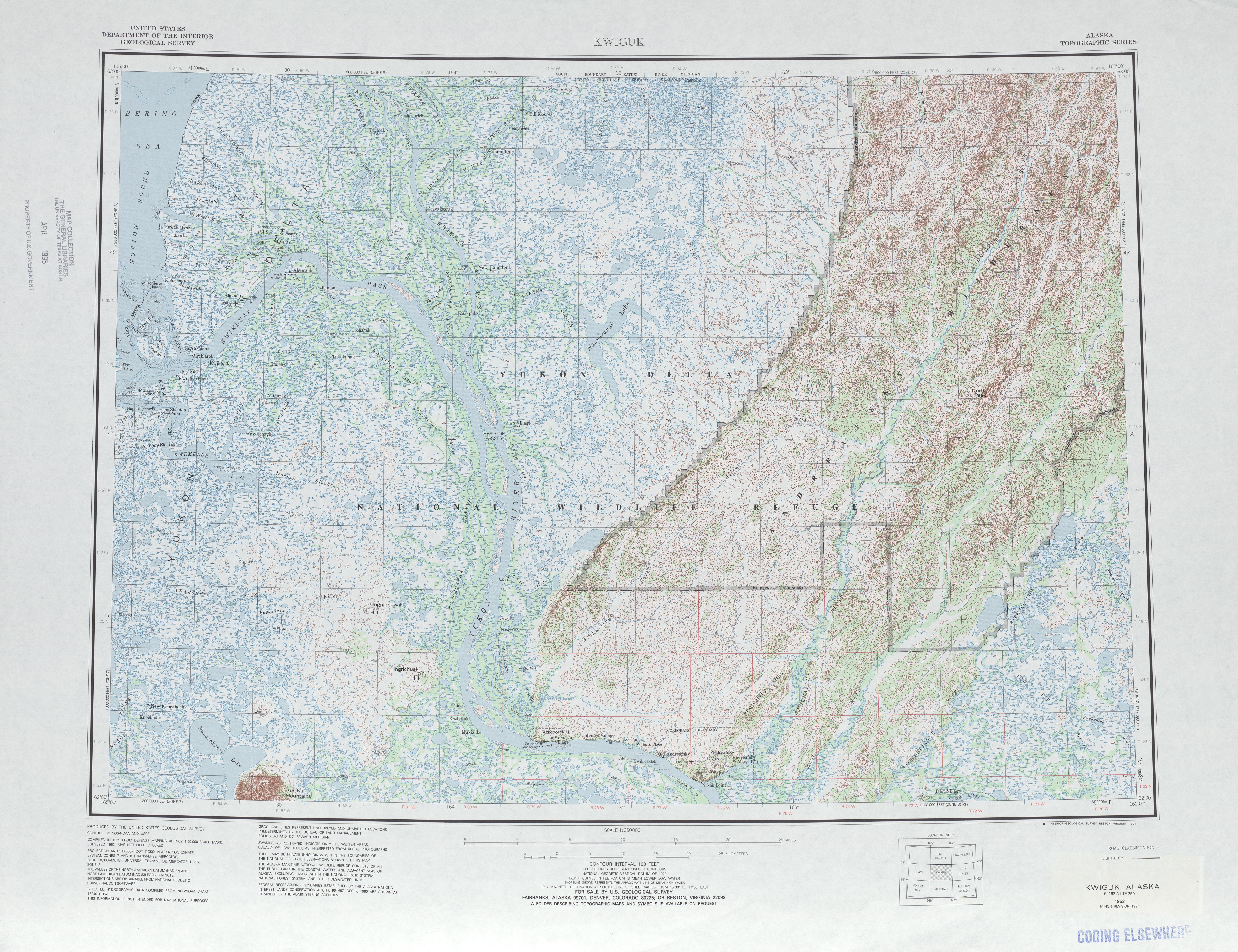 Kwiguk Topographic Map Sheet, United States 1994