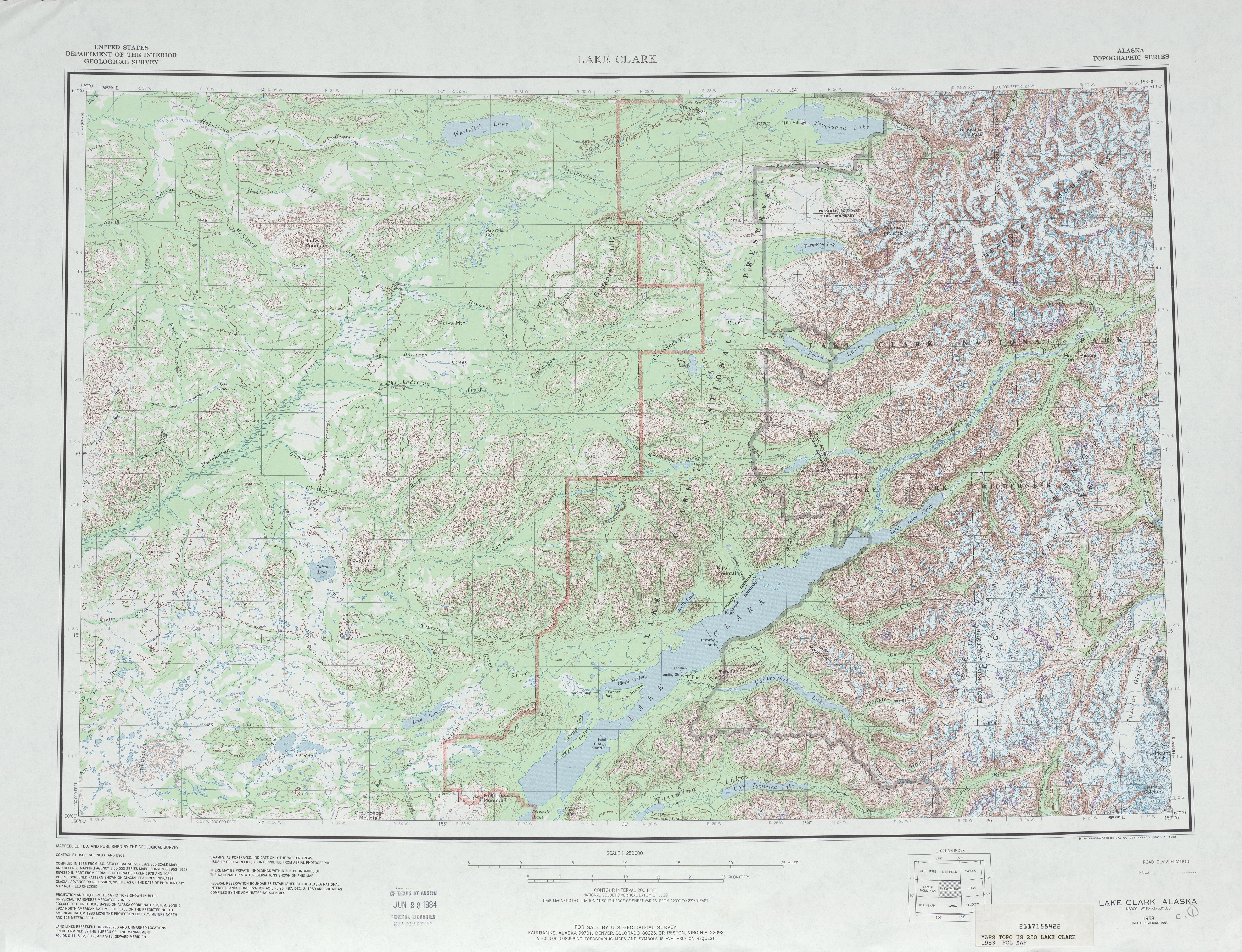 Hoja Lake Clark del Mapa Topográfico de los Estados Unidos 1983