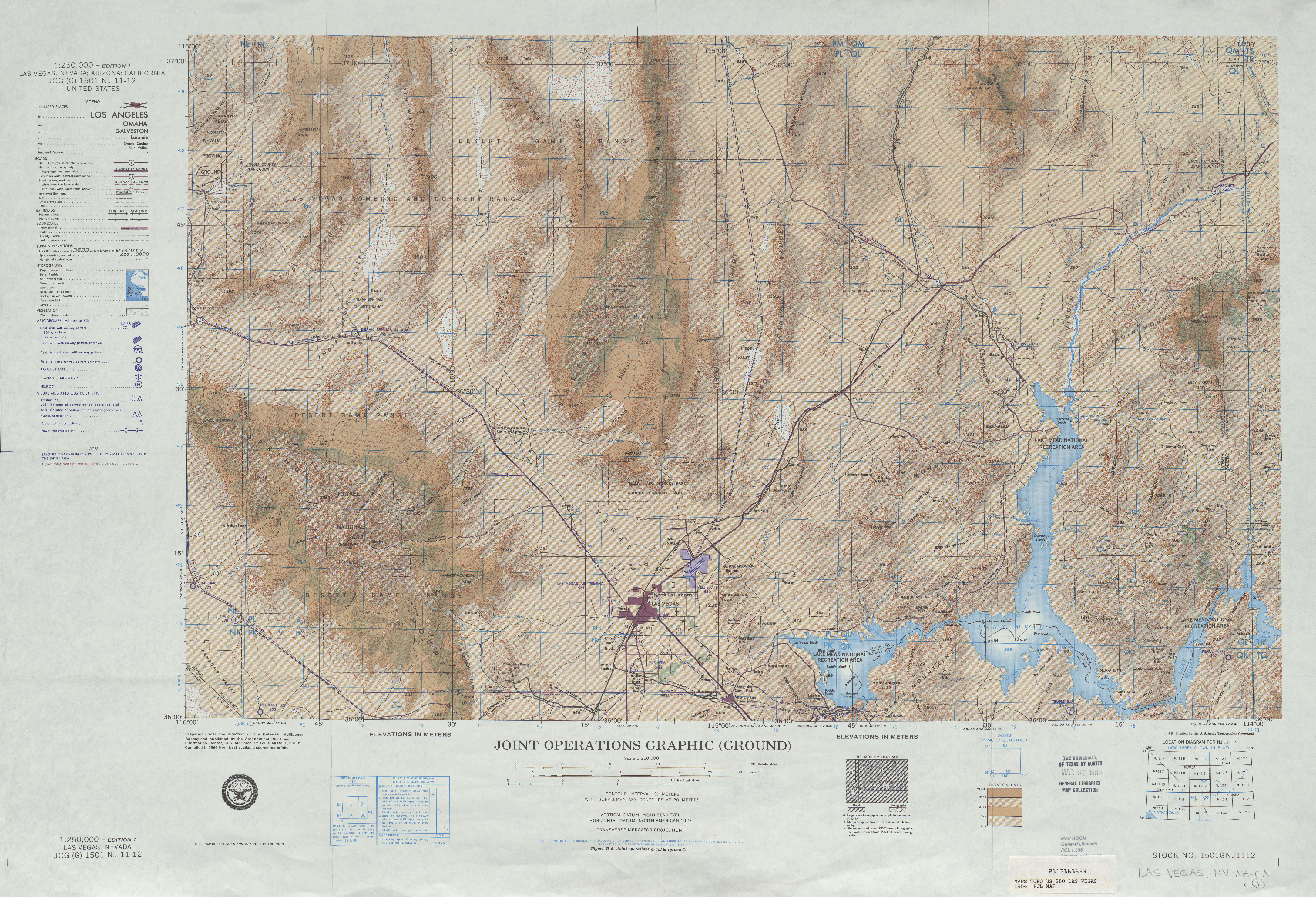 Las Vegas Joint Operations Graphic Sheet, United States 1954
