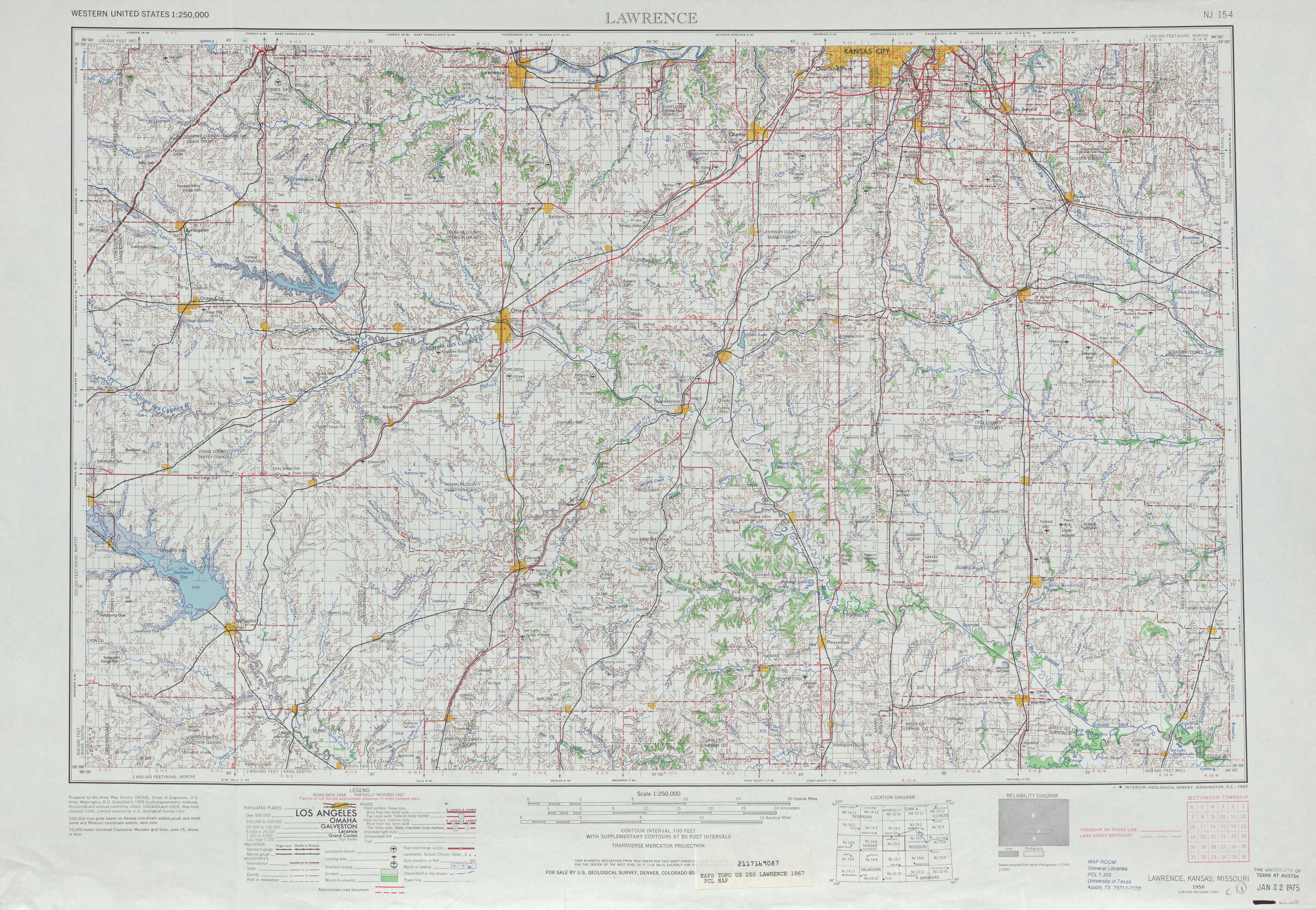 Hoja Lawrence del Mapa Topográfico de los Estados Unidos 1967