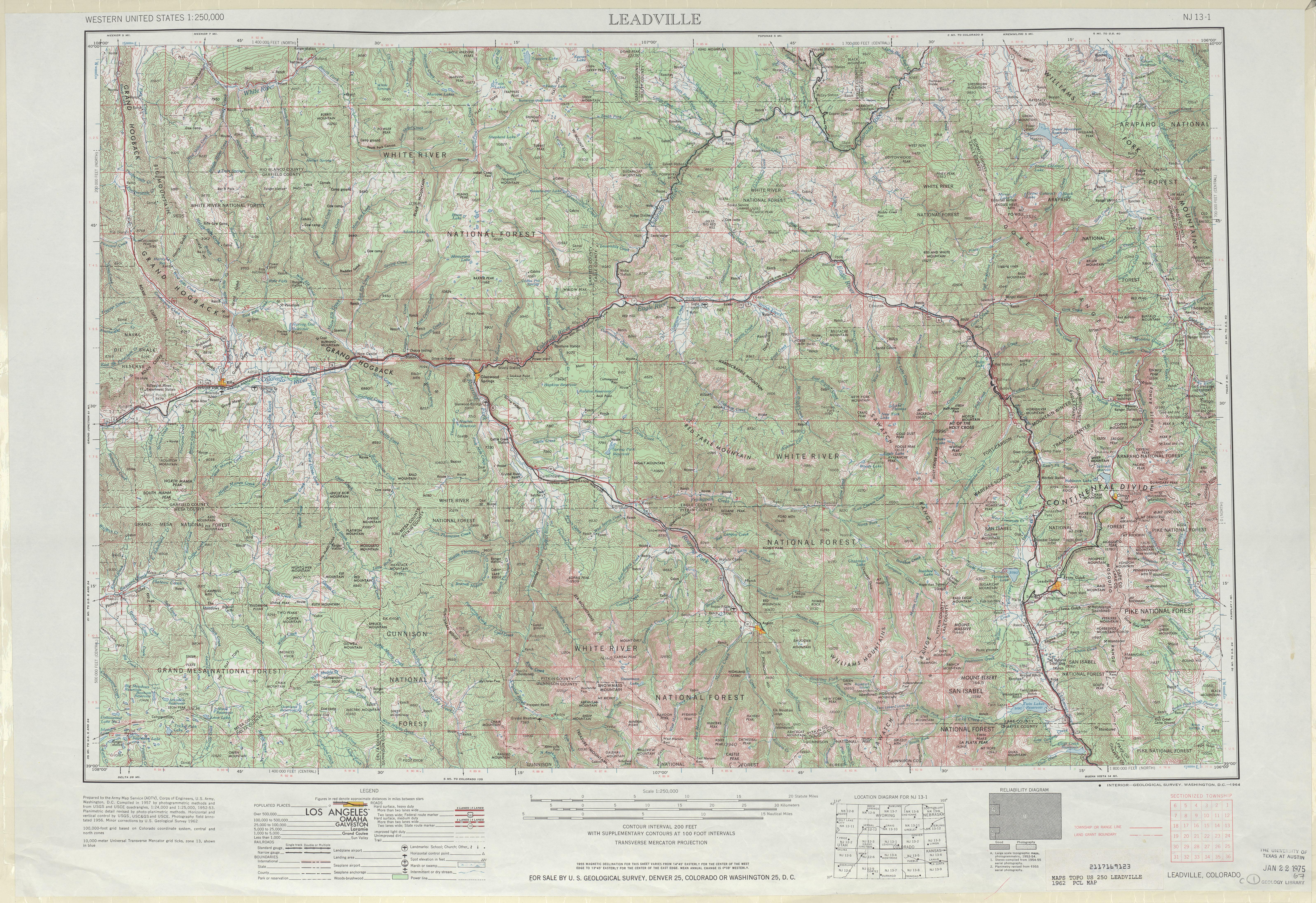 Hoja Leadville del Mapa Topográfico de los Estados Unidos 1962