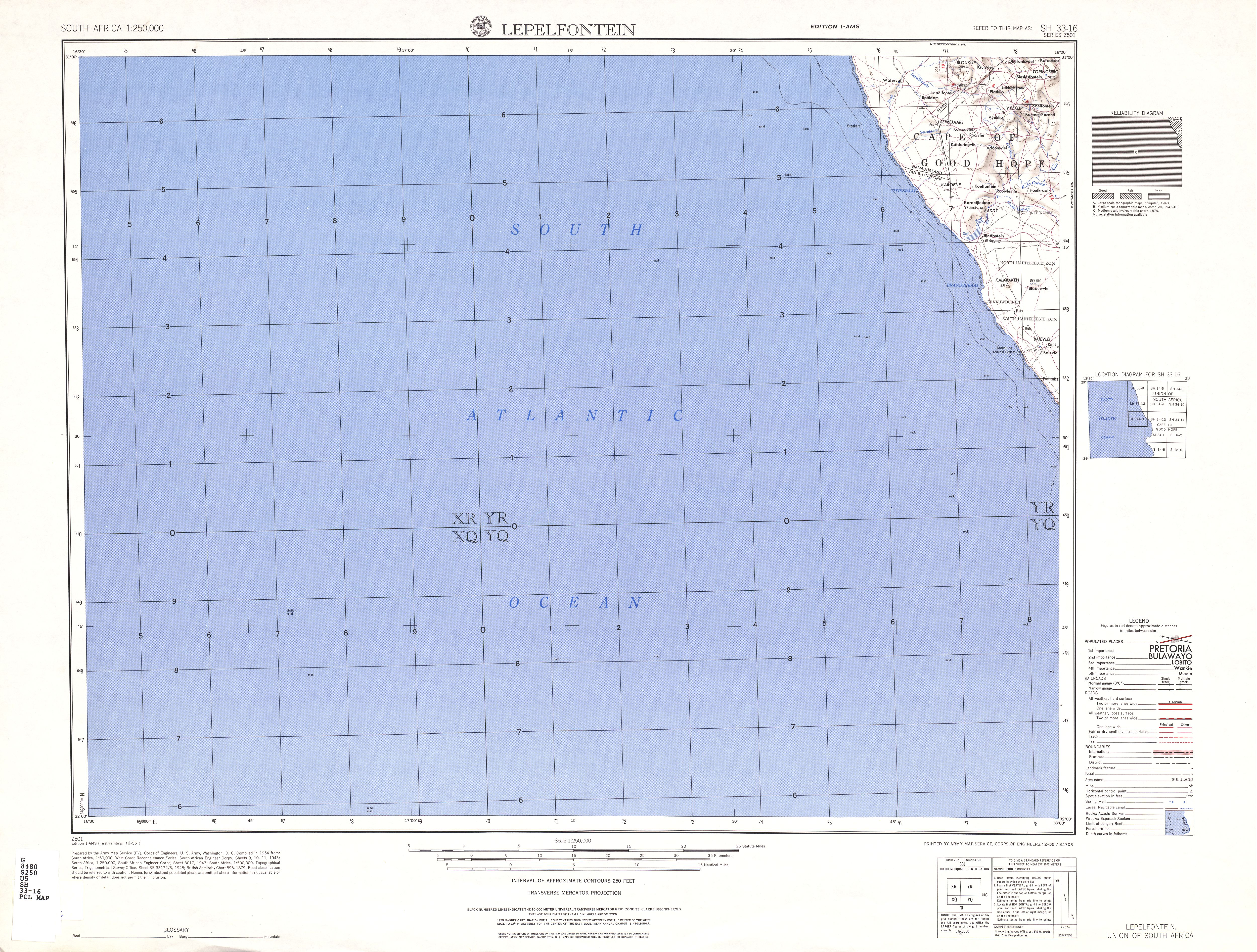 Lepelfontein Topographic Map Sheet, Southern Africa 1954