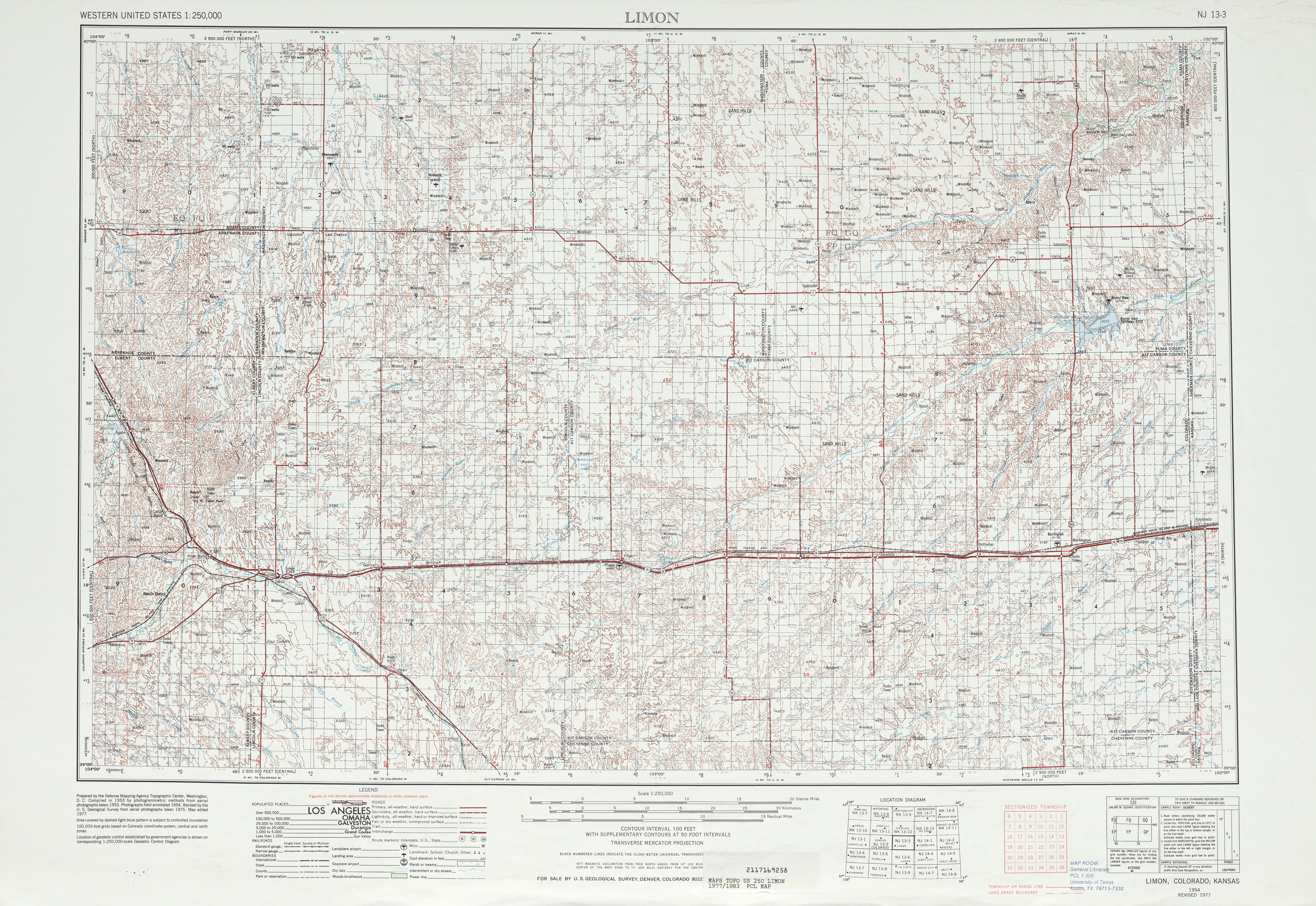 Limon Topographic Map Sheet, United States 1977
