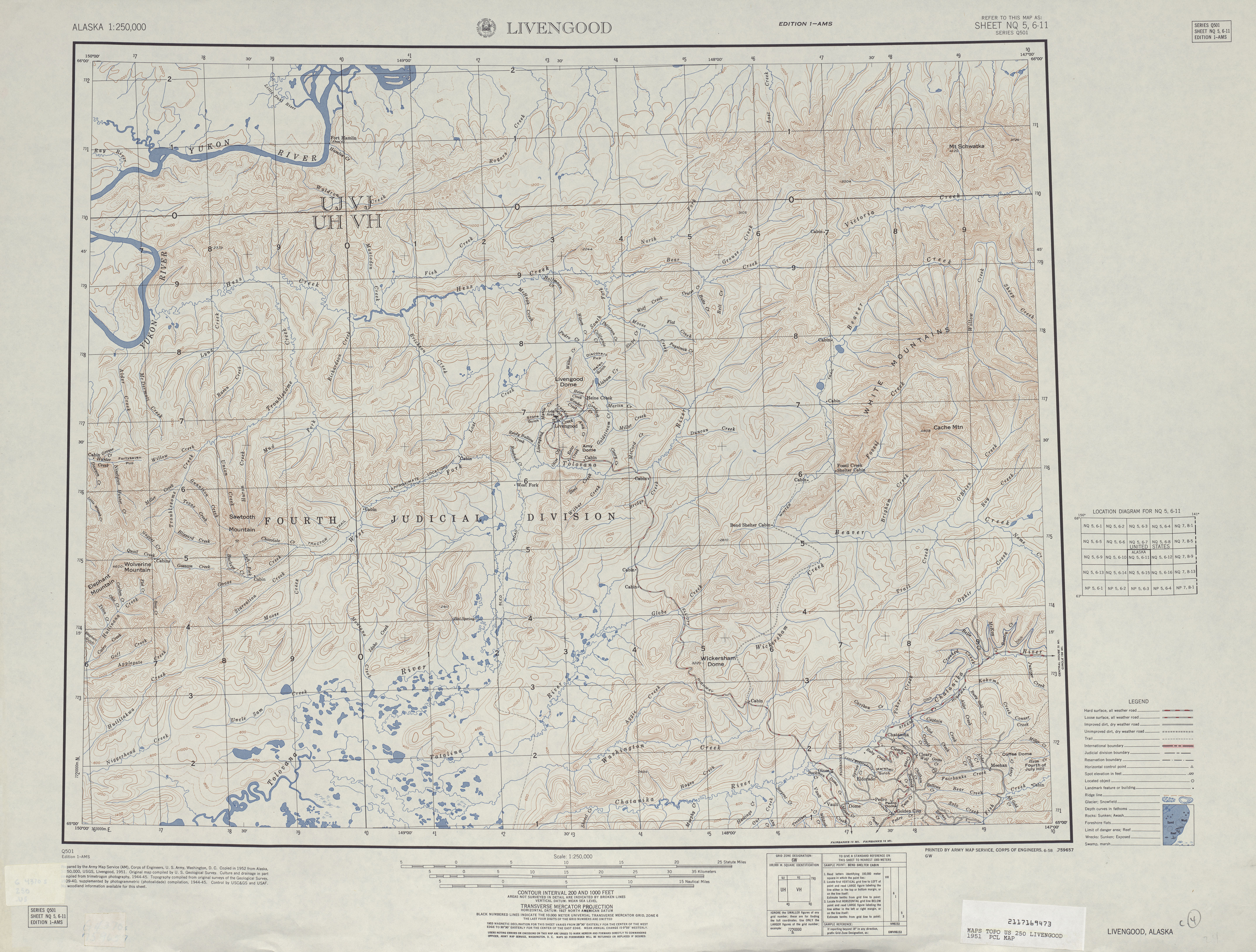 Hoja Livengood del Mapa Topográfico de los Estados Unidos 1951