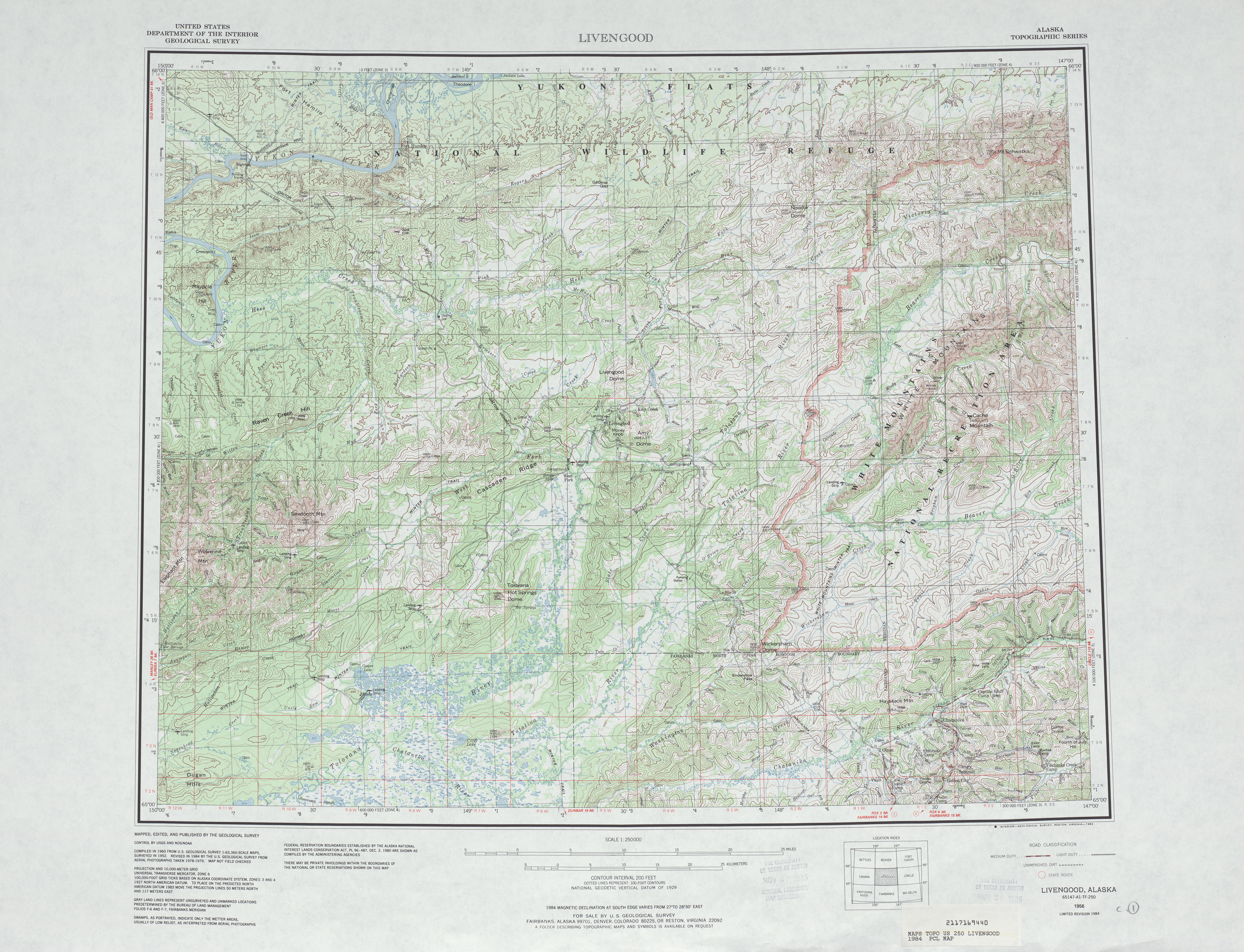 Livengood Topographic Map Sheet, United States 1984