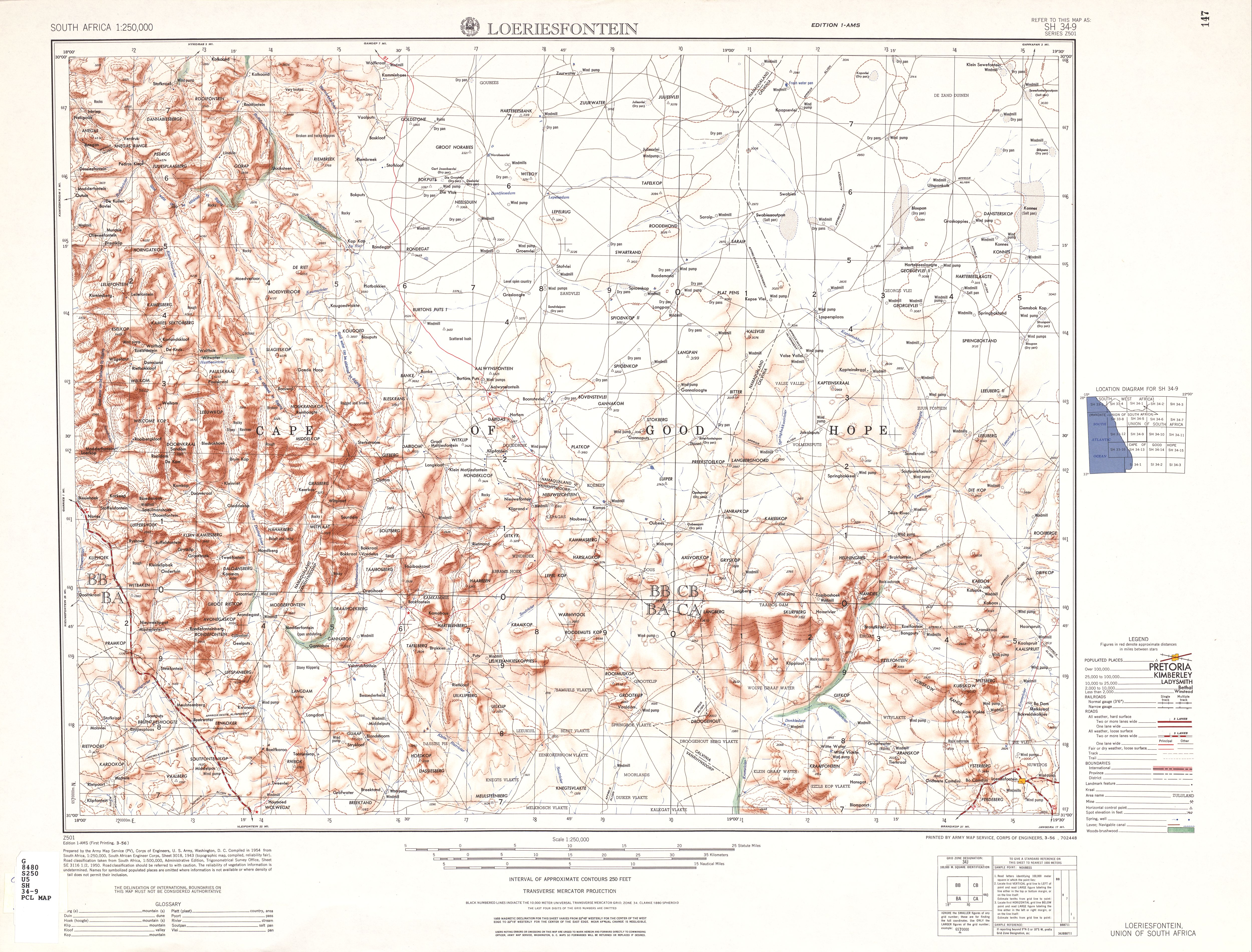 Loeriesfontein Topographic Map Sheet, Southern Africa 1954