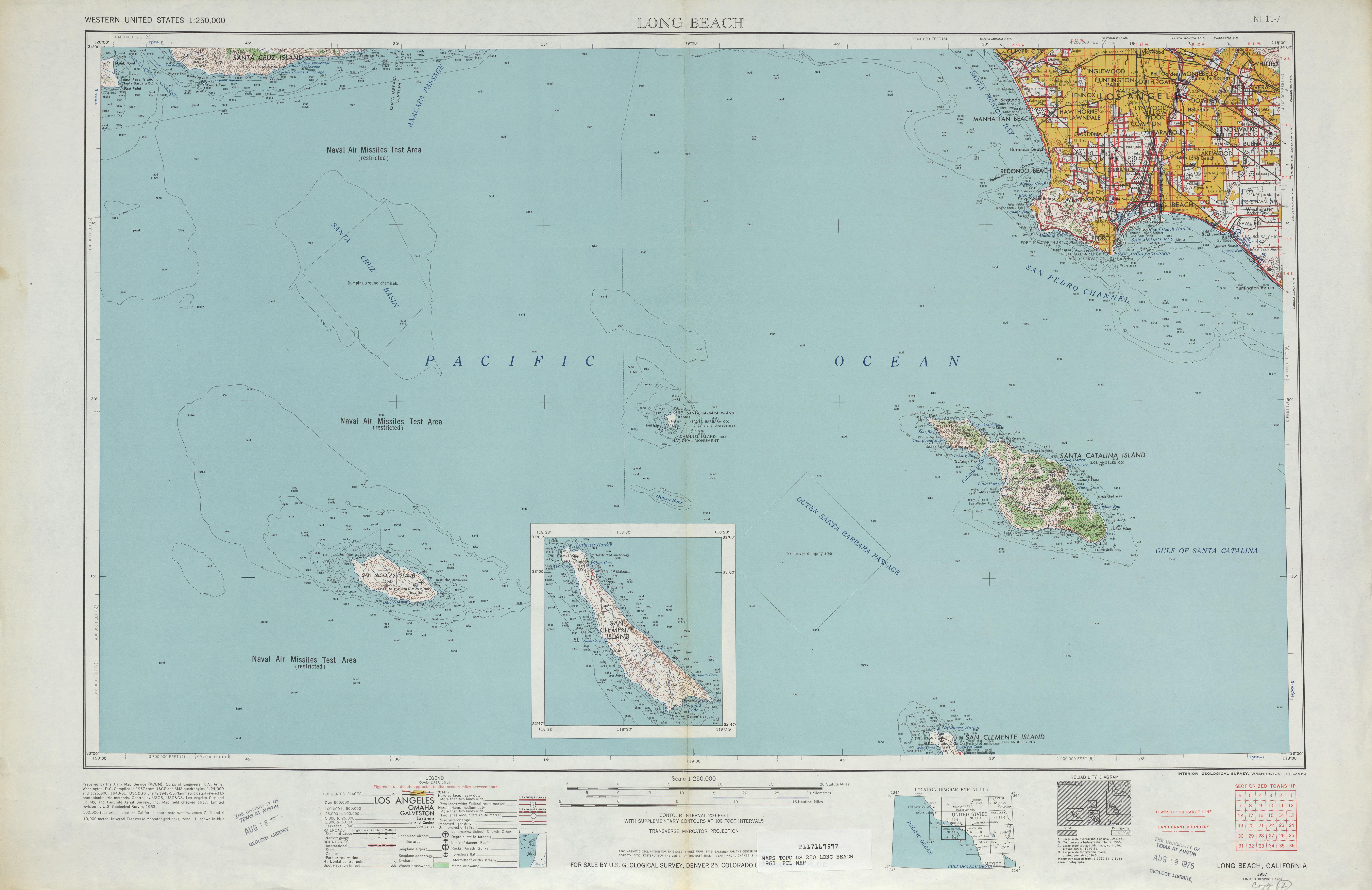 Hoja Long Beach del Mapa Topográfico de los Estados Unidos 1963