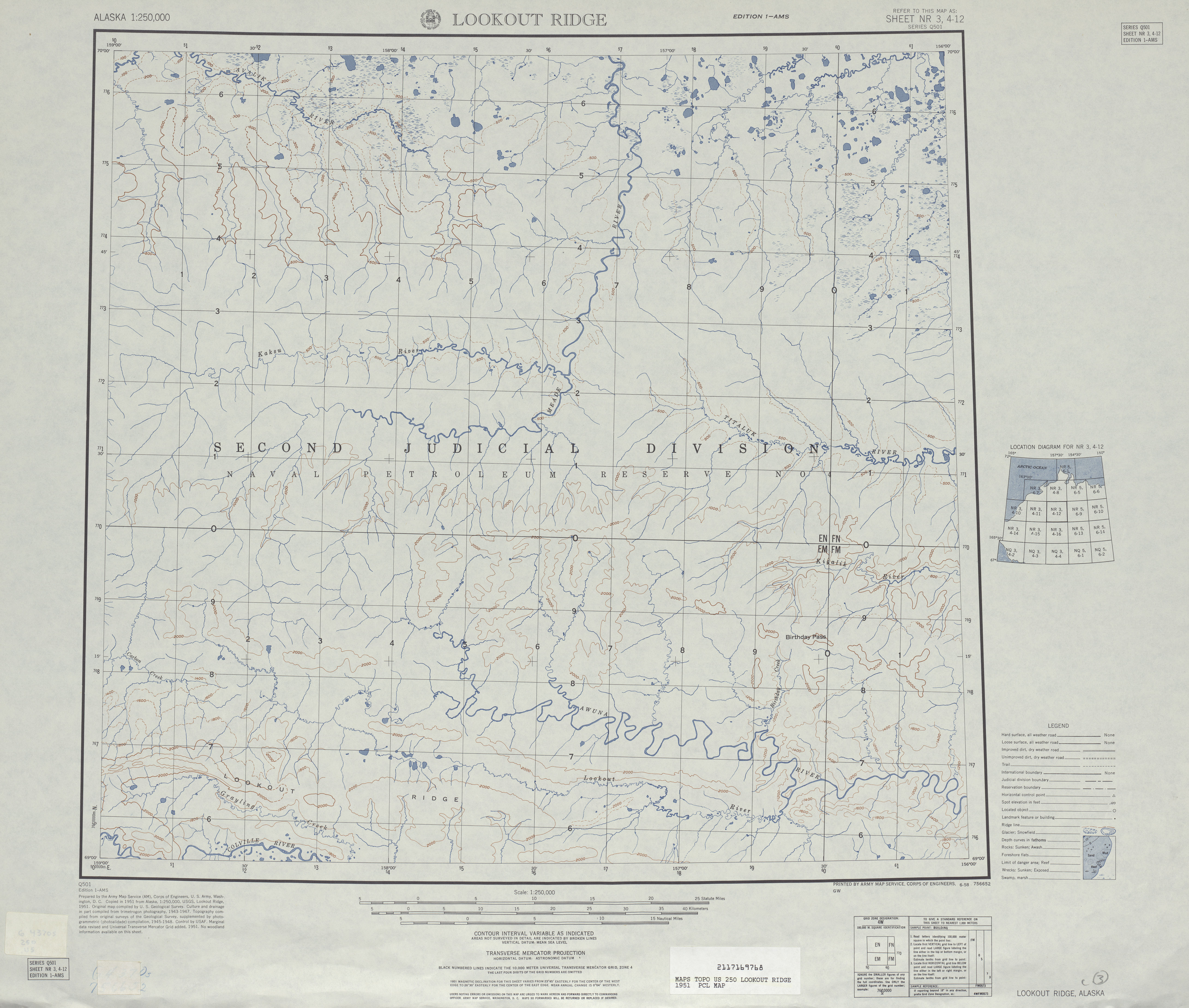 Lookout Ridge Topographic Map Sheet, United States 1951