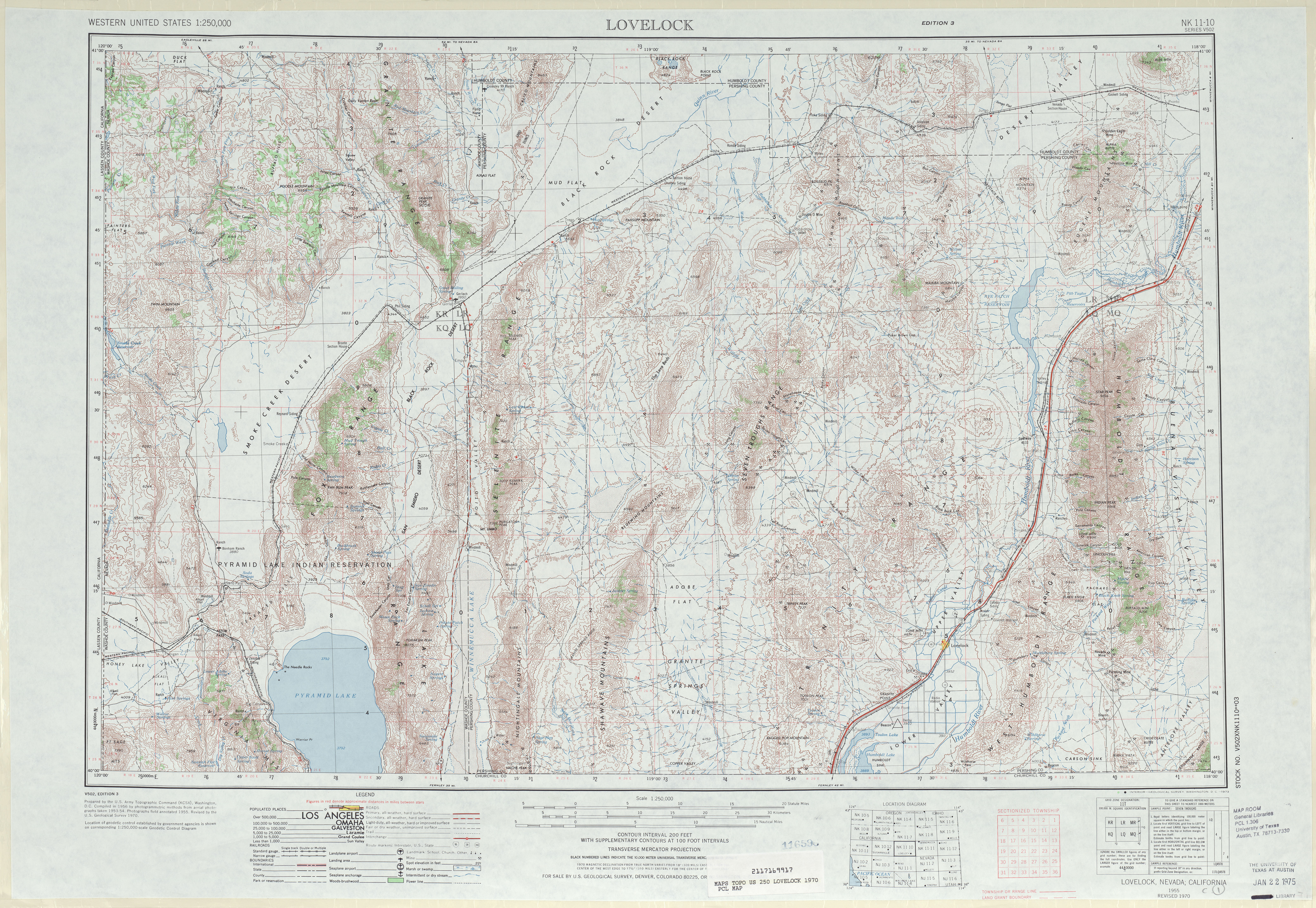 Lovelock Topographic Map Sheet, United States 1970