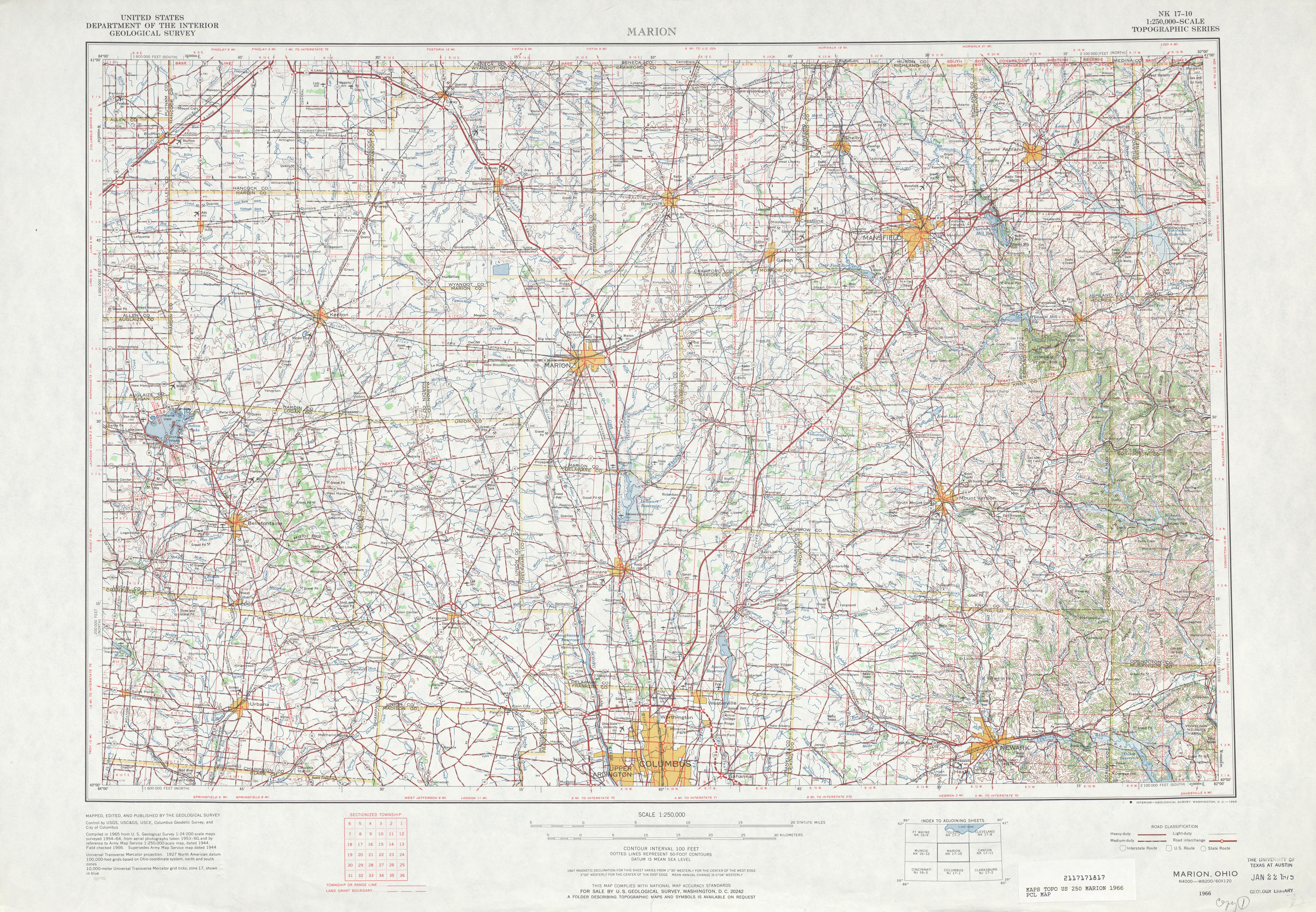 Hoja Marion del Mapa Topográfico de los Estados Unidos 1966
