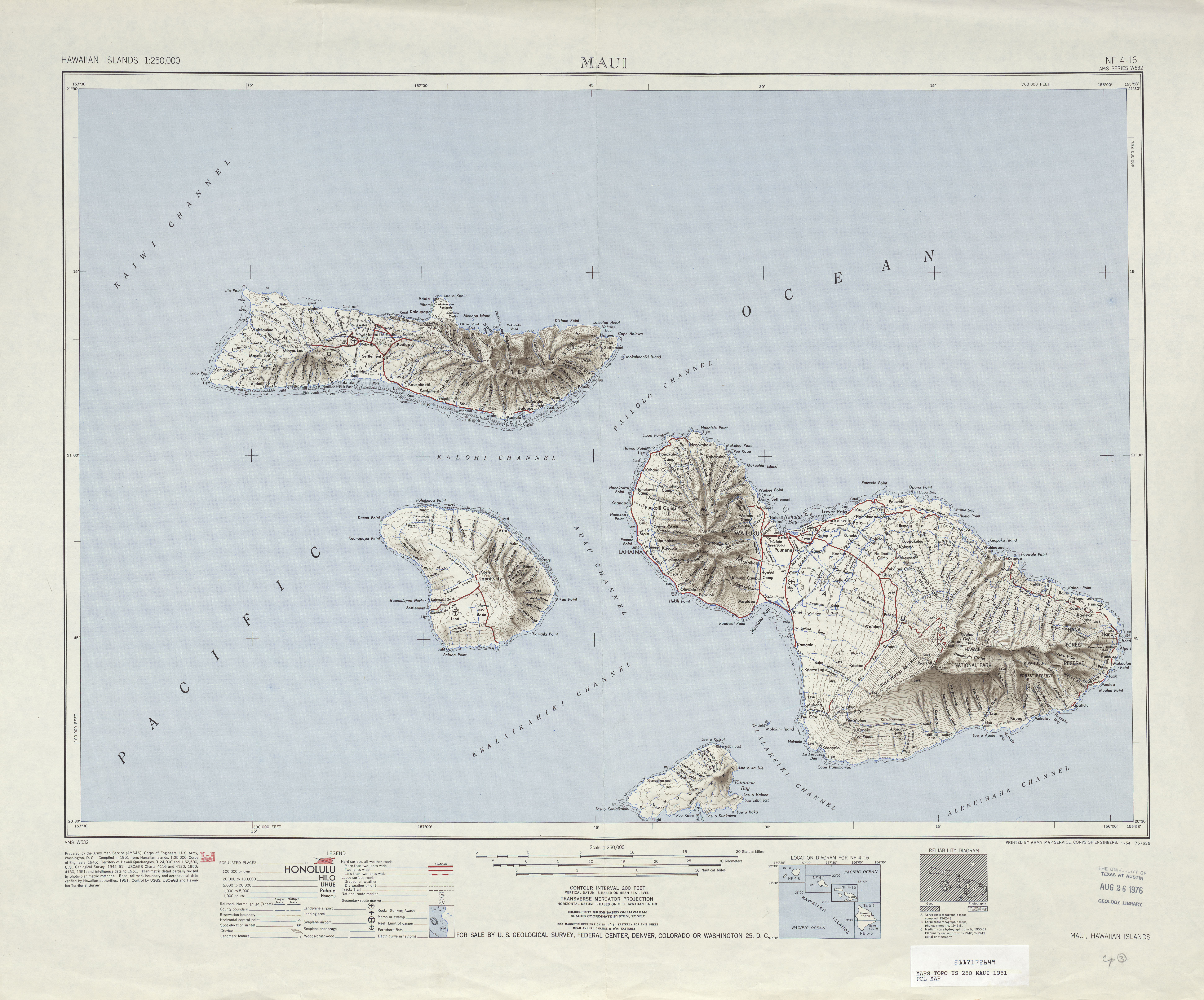 Maui Shaded Relief Map Sheet, United States 1951