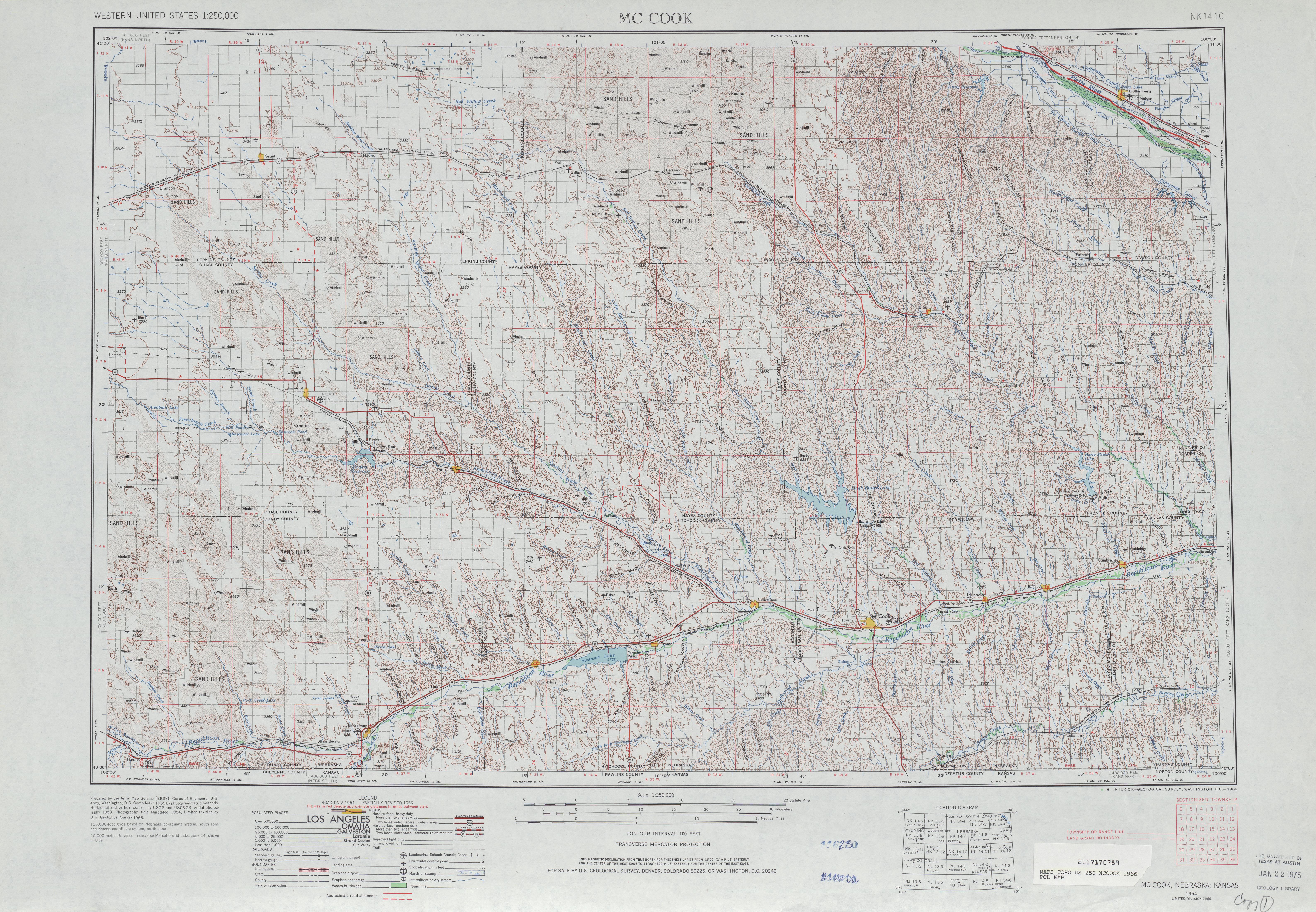 Hoja Mccook del Mapa Topográfico de los Estados Unidos 1966