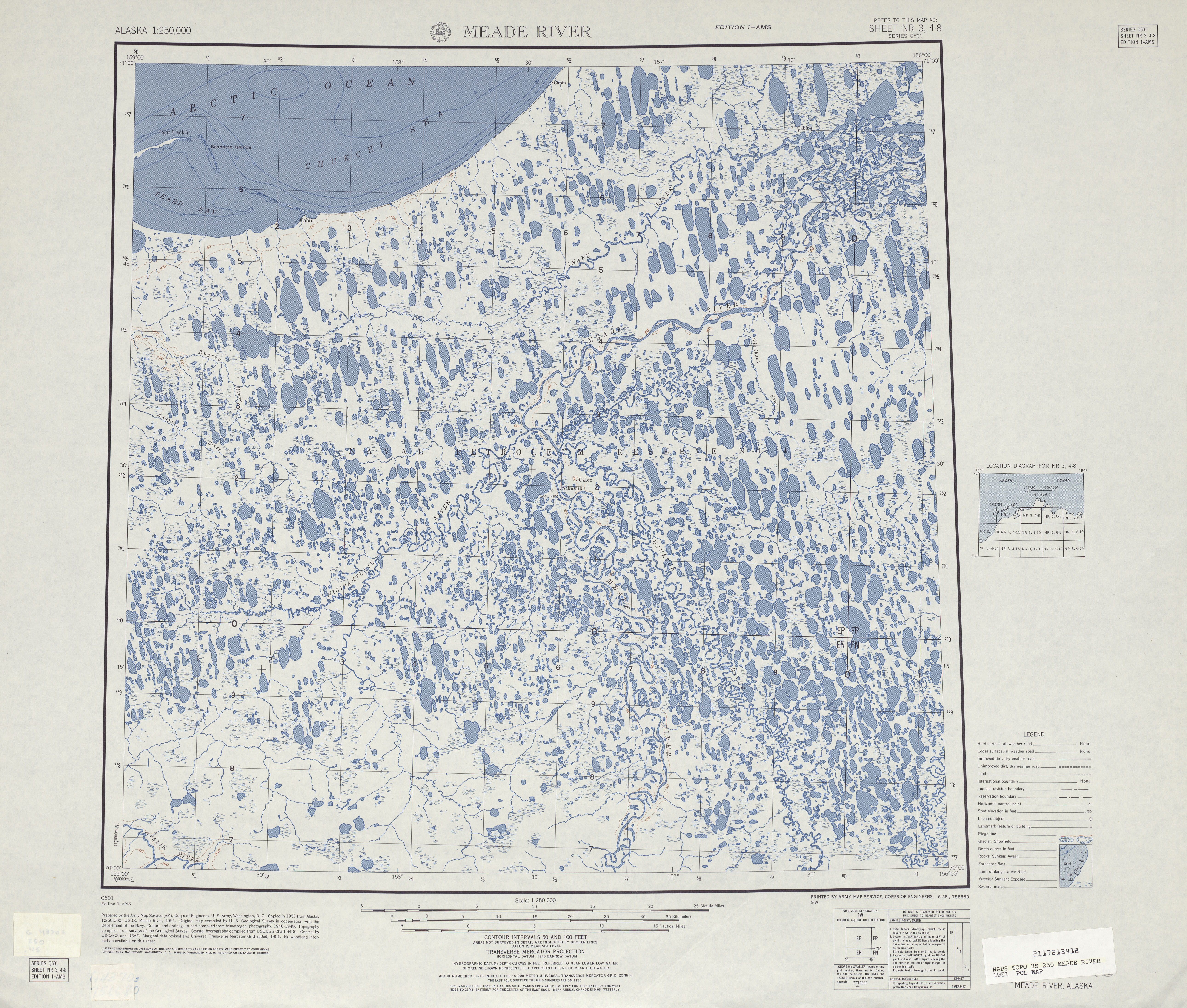 Meade River Topographic Map Sheet, United States 1951