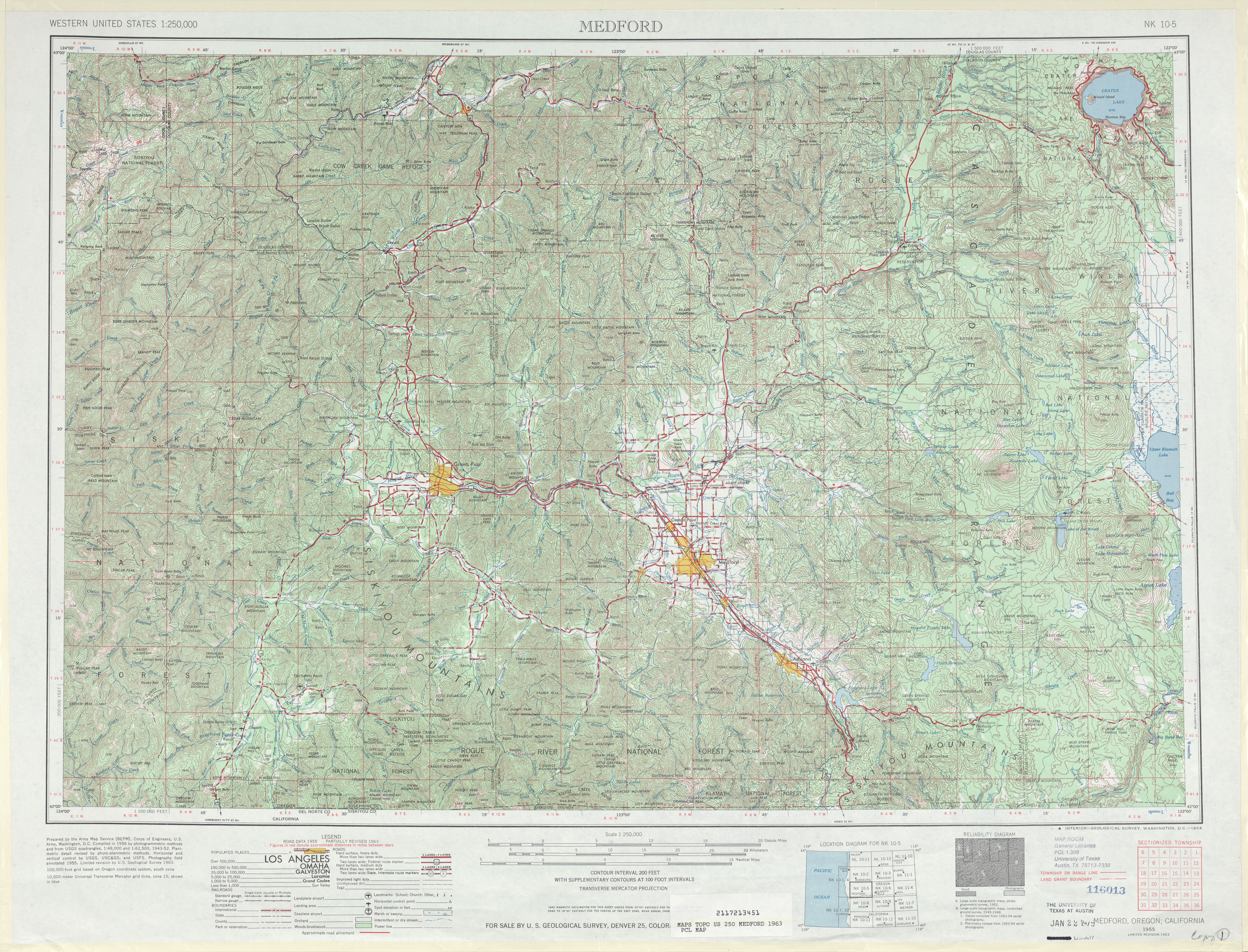Medford Topographic Map Sheet, United States 1963
