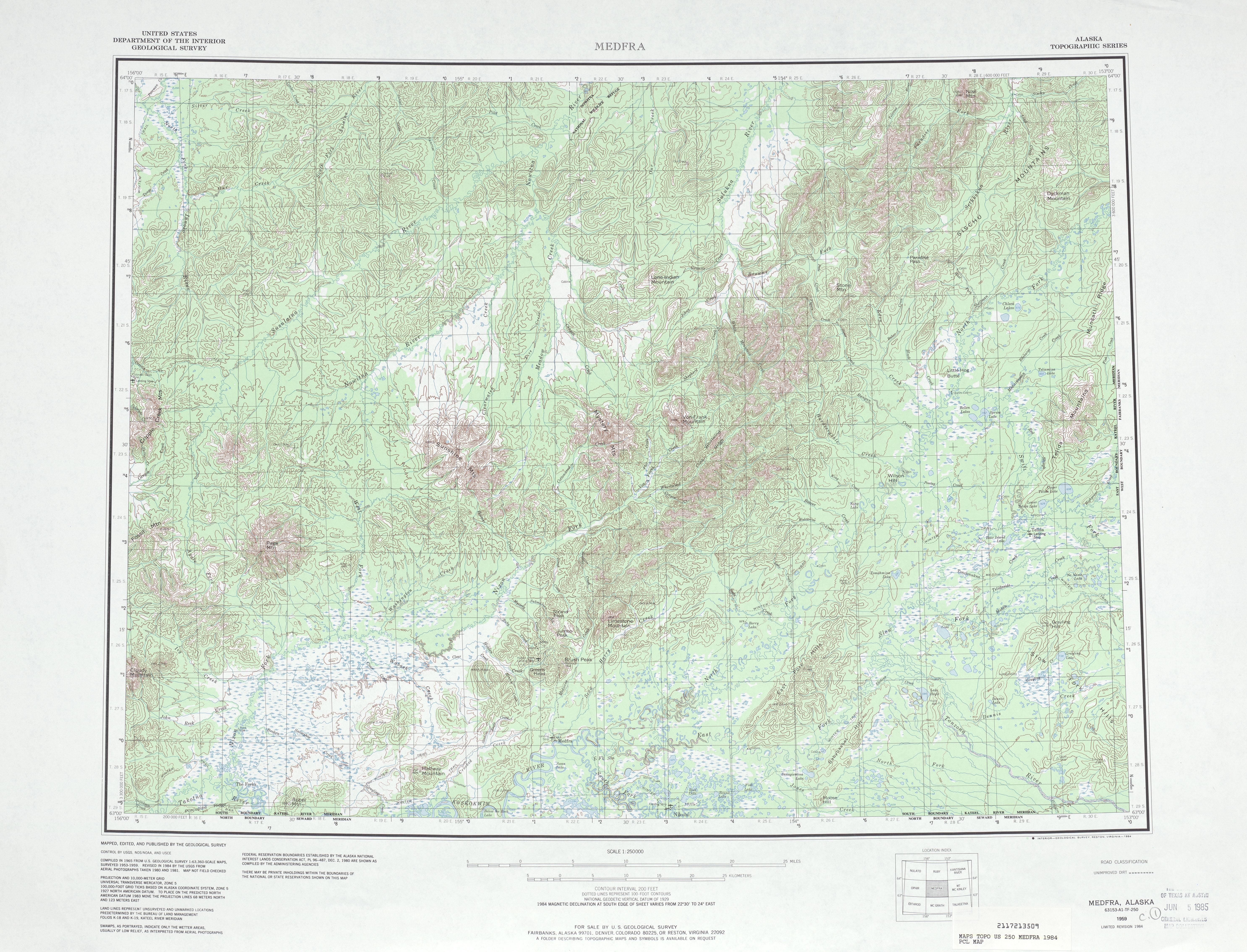 Medfra Topographic Map Sheet, United States 1984