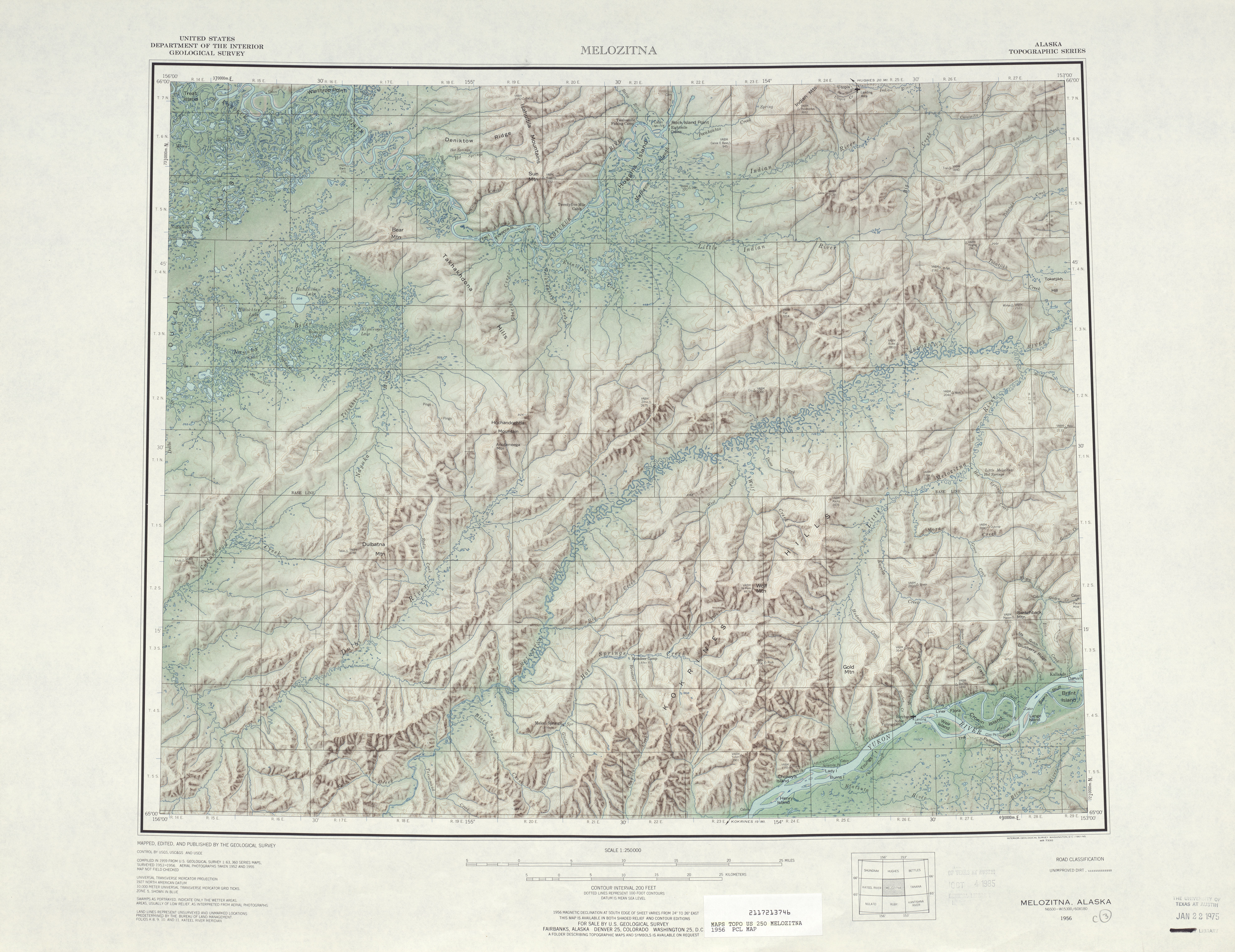 Melozitna Shaded Relief Map Sheet, United States 1956