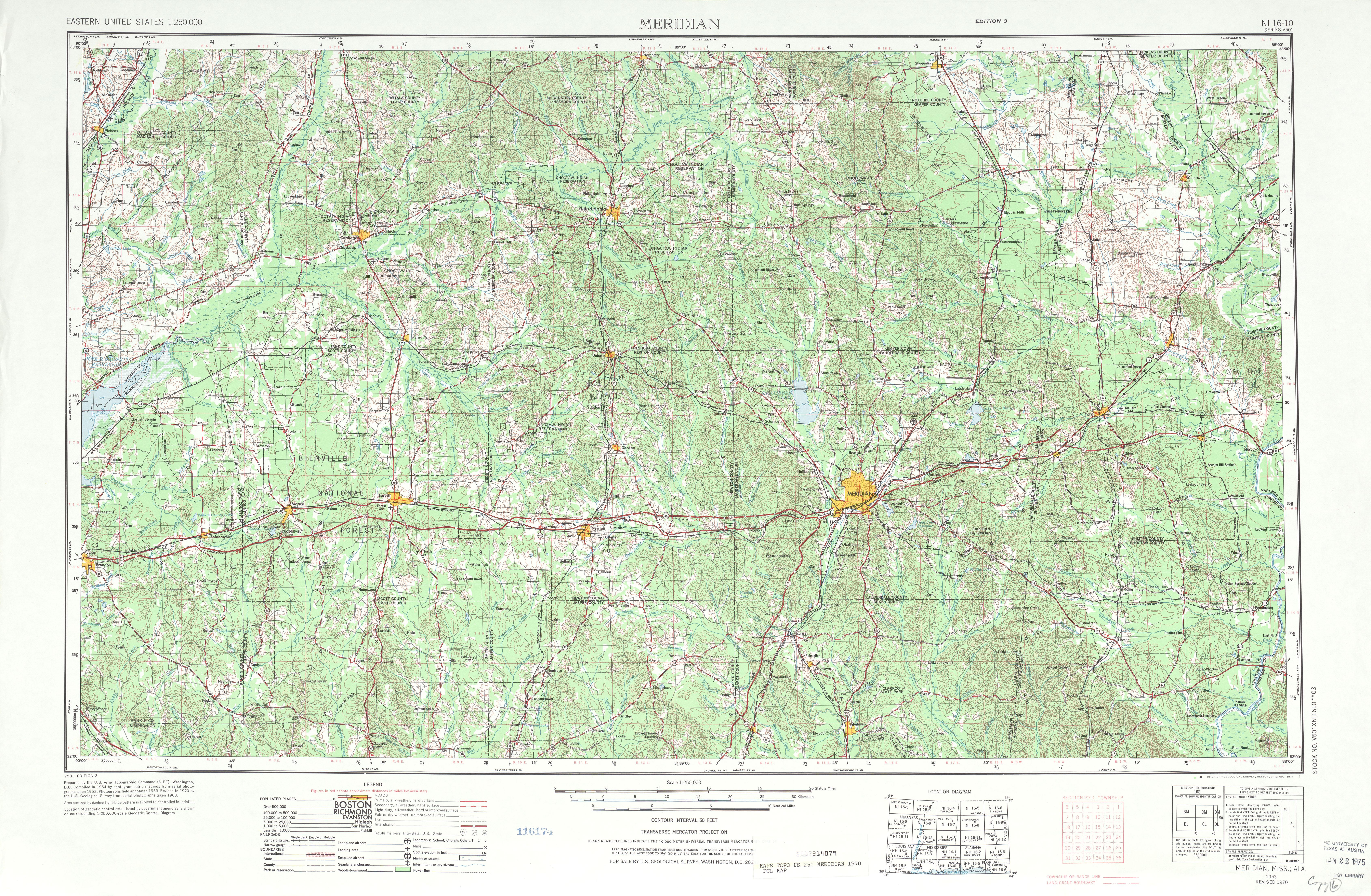 Hoja Meridian del Mapa Topográfico de los Estados Unidos 1970