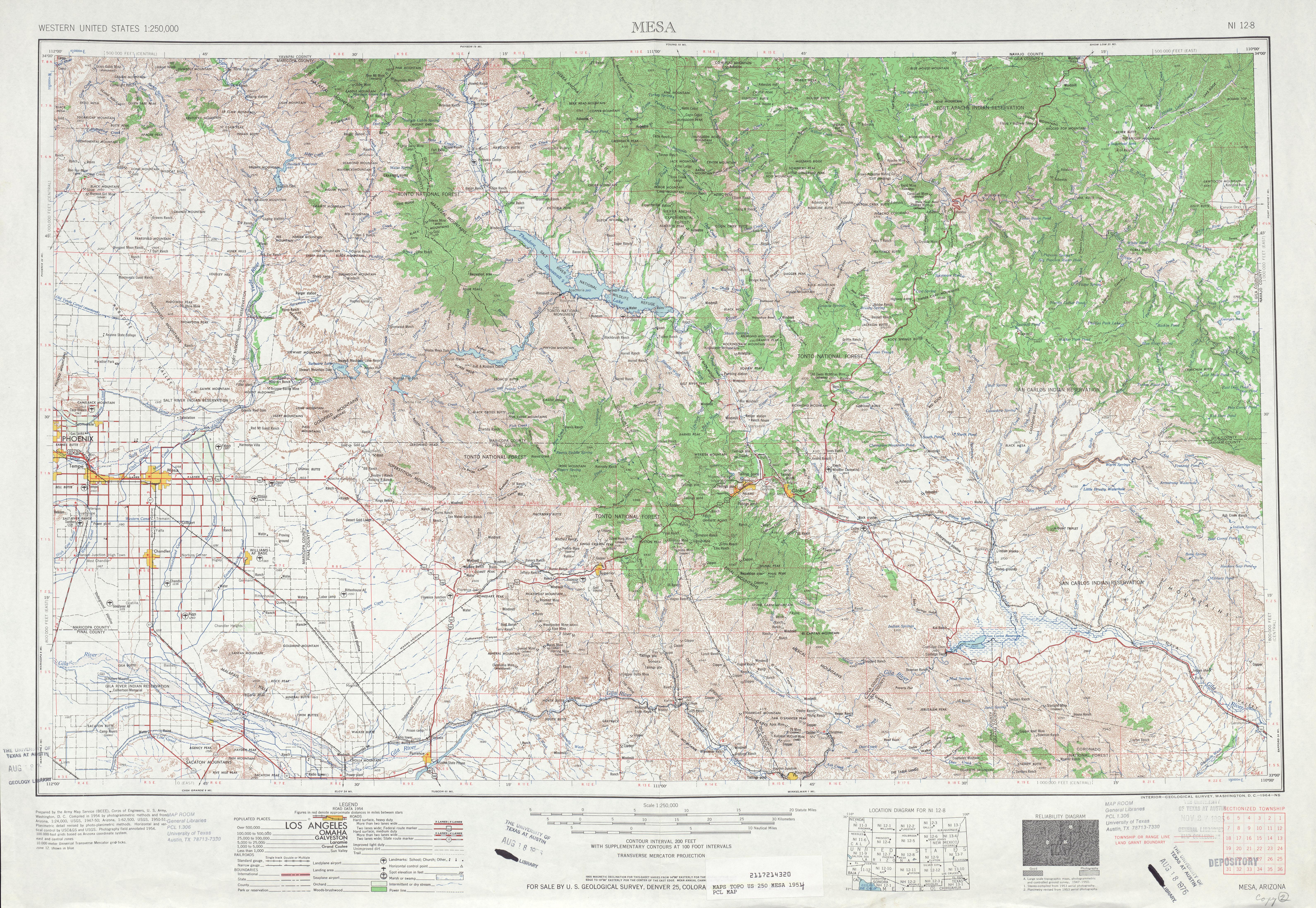 Hoja Mesa del Mapa Topográfico de los Estados Unidos 1954