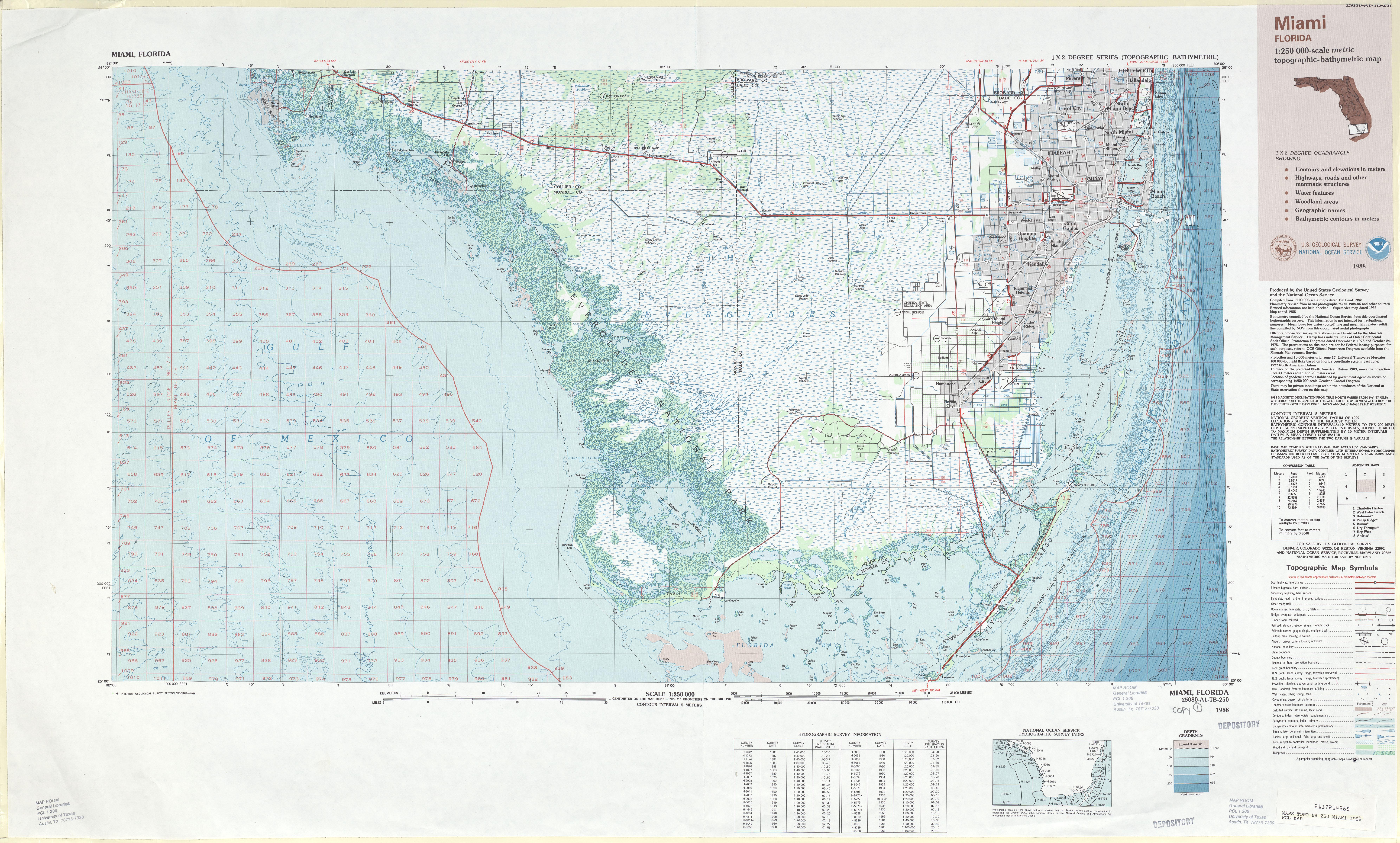 Miami Topographic-Bathymetric Map Sheet, United States 1988