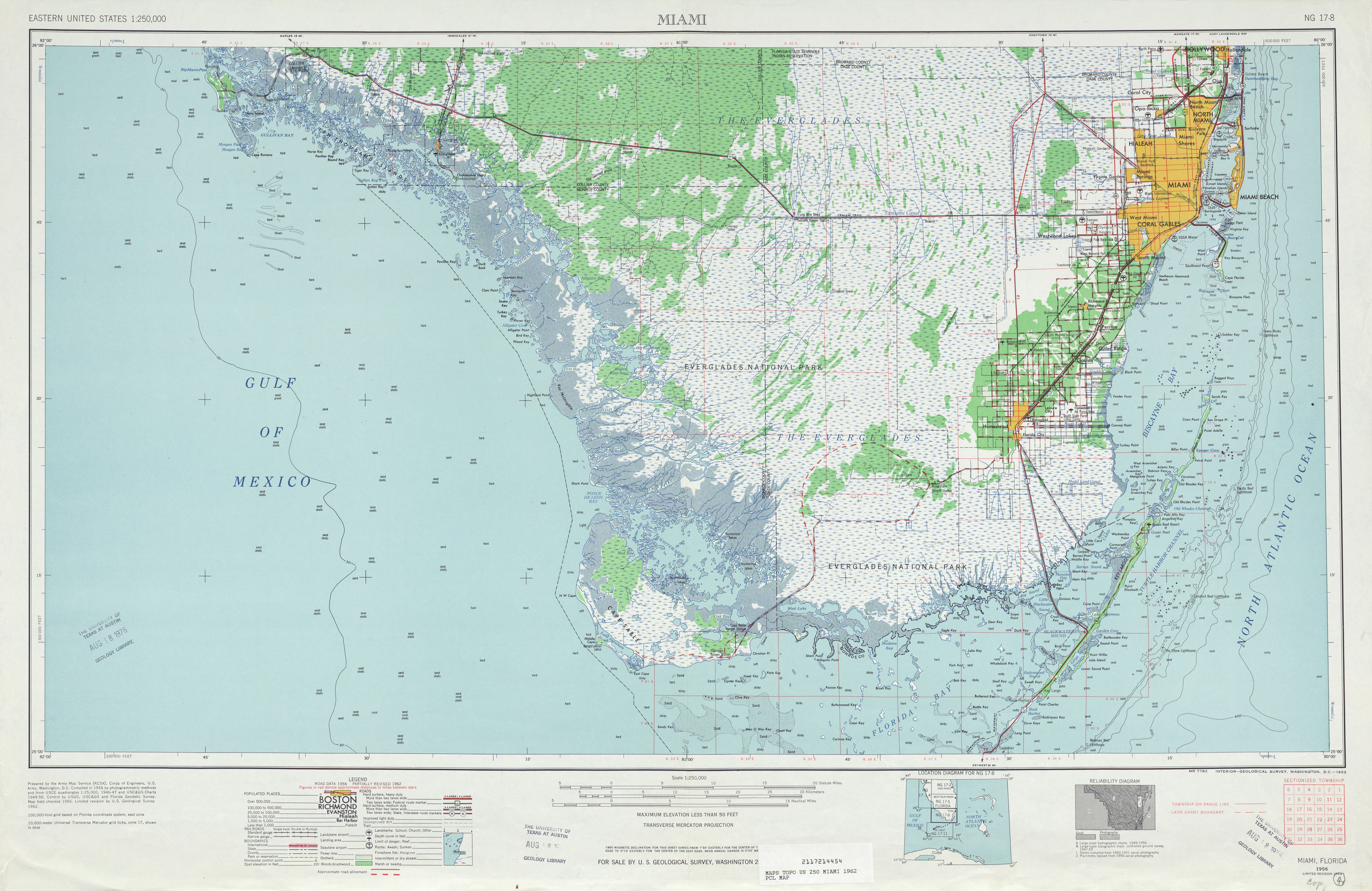 Miami Topographic Map Sheet, United States 1962