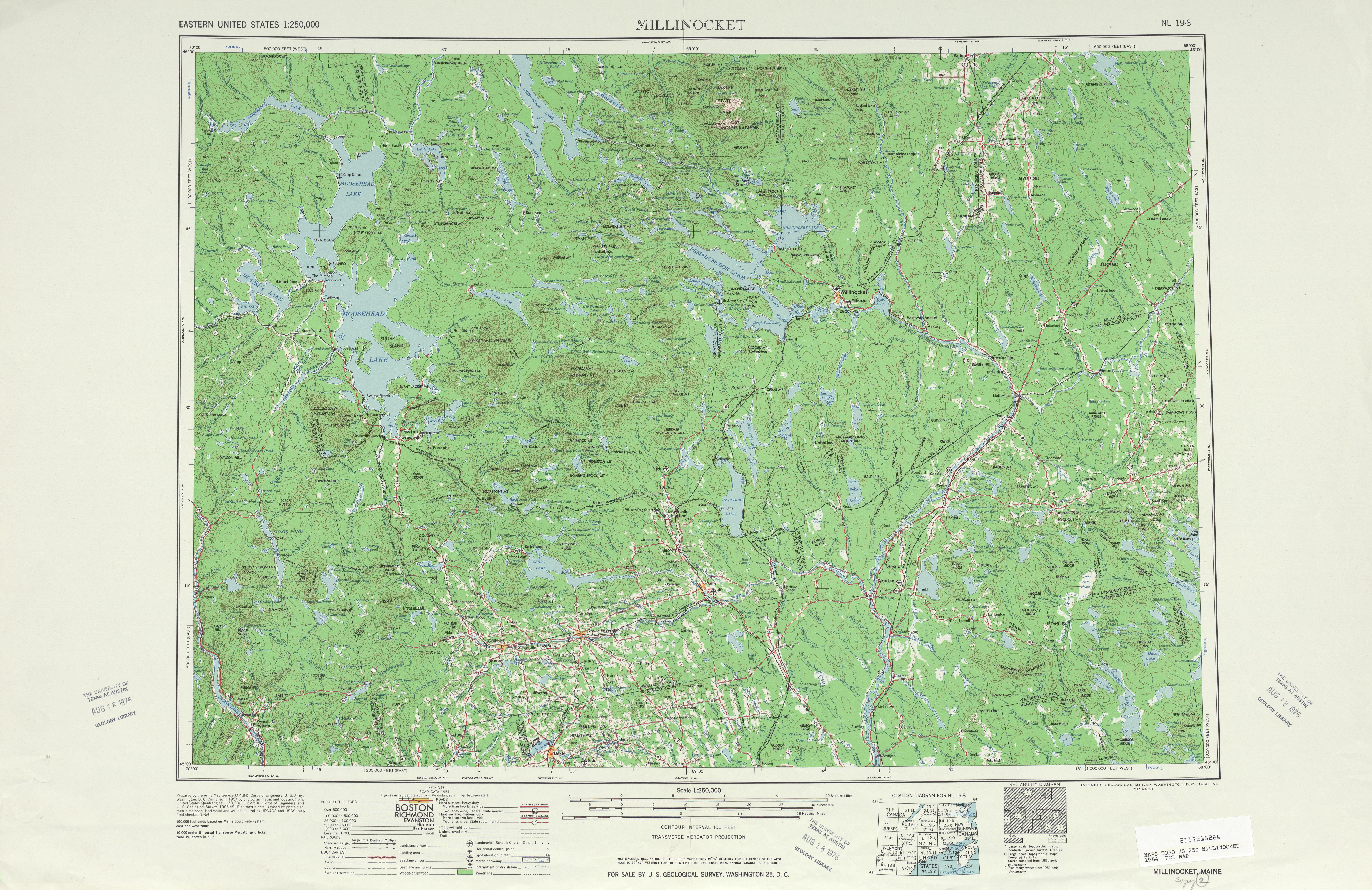 Hoja Millinocket del Mapa Topográfico de los Estados Unidos 1954