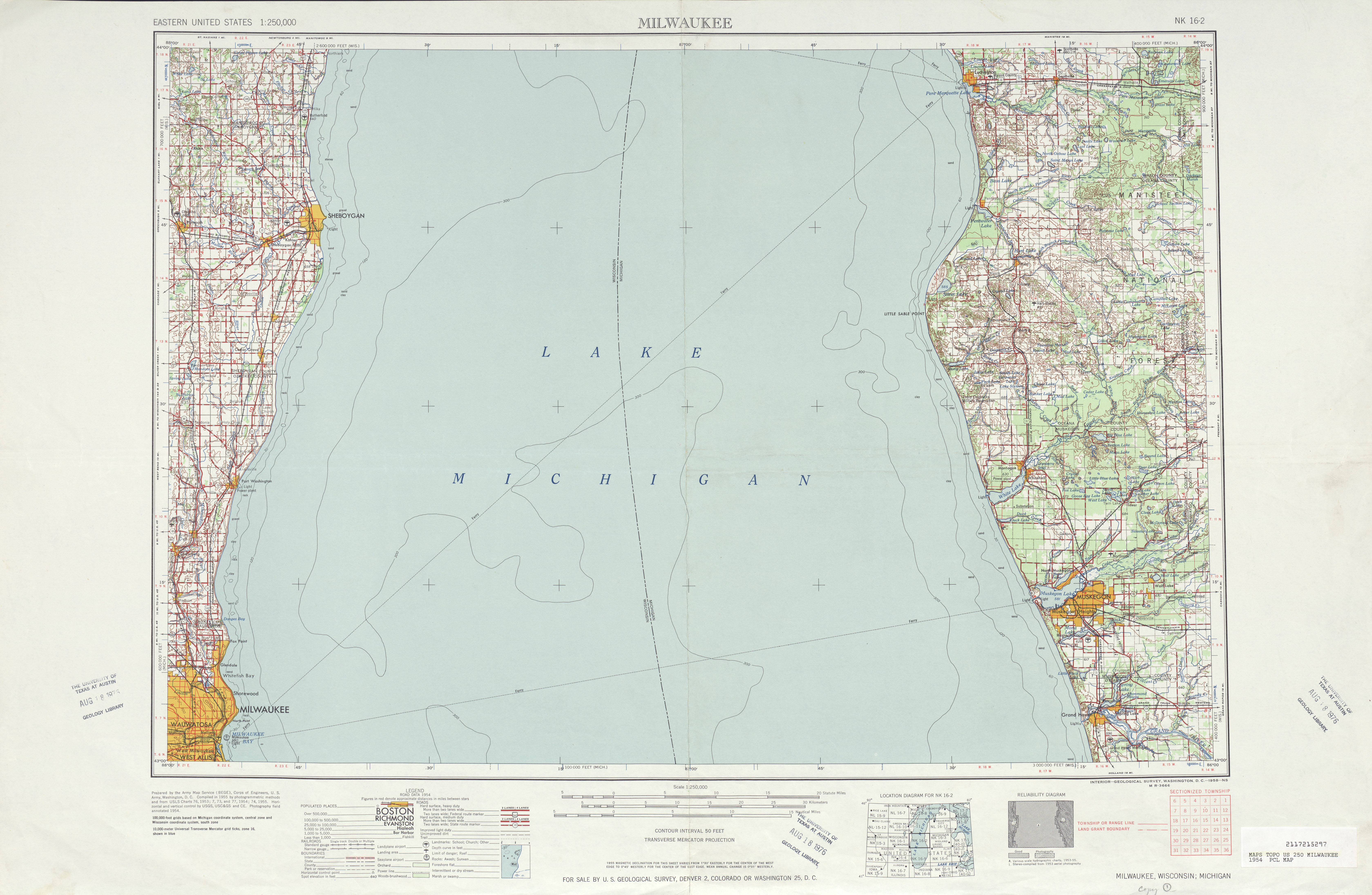 Milwaukee Topographic Map Sheet, United States 1954