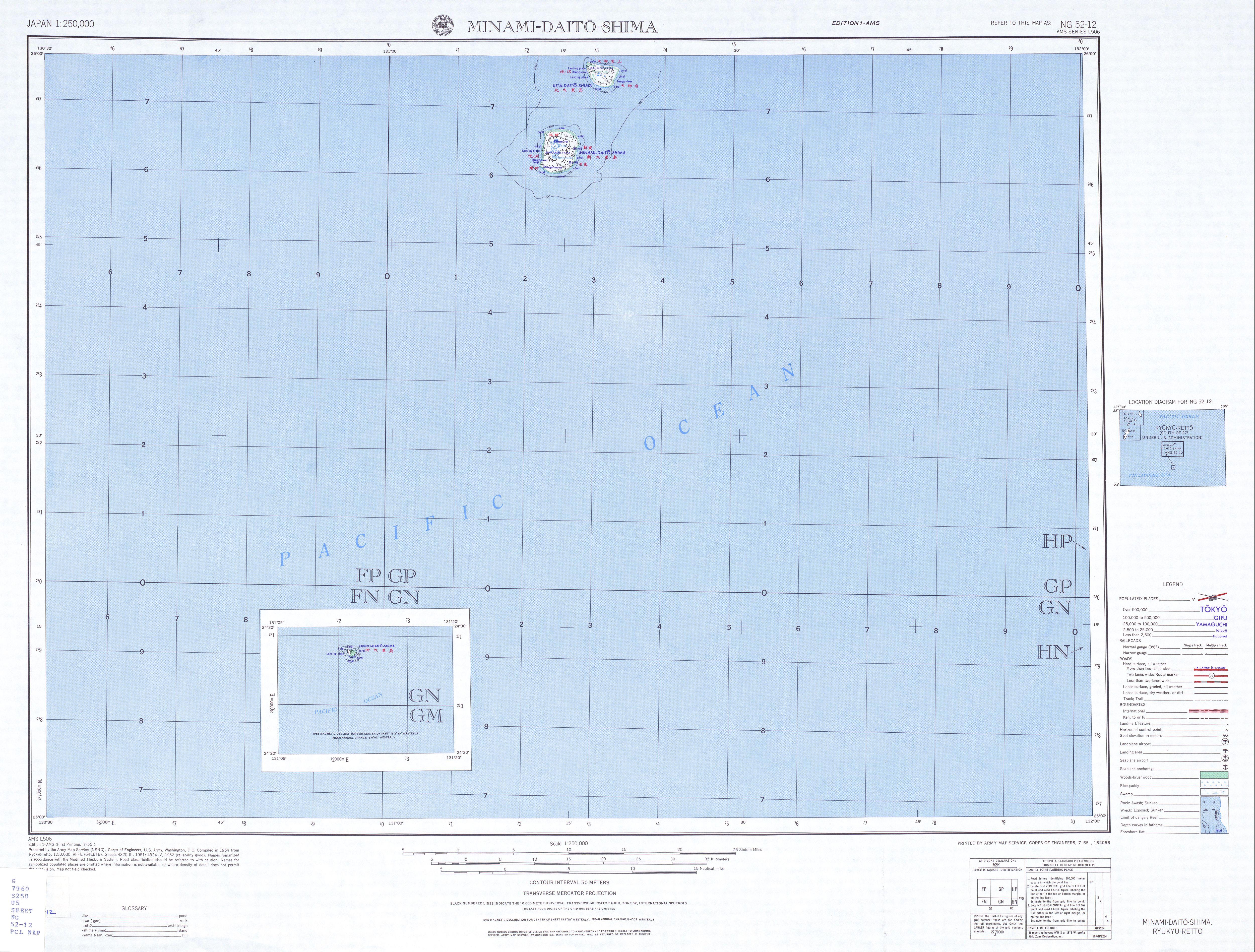 Hoja Minami-Daito-Shima del Mapa Topográfico de Japón 1954