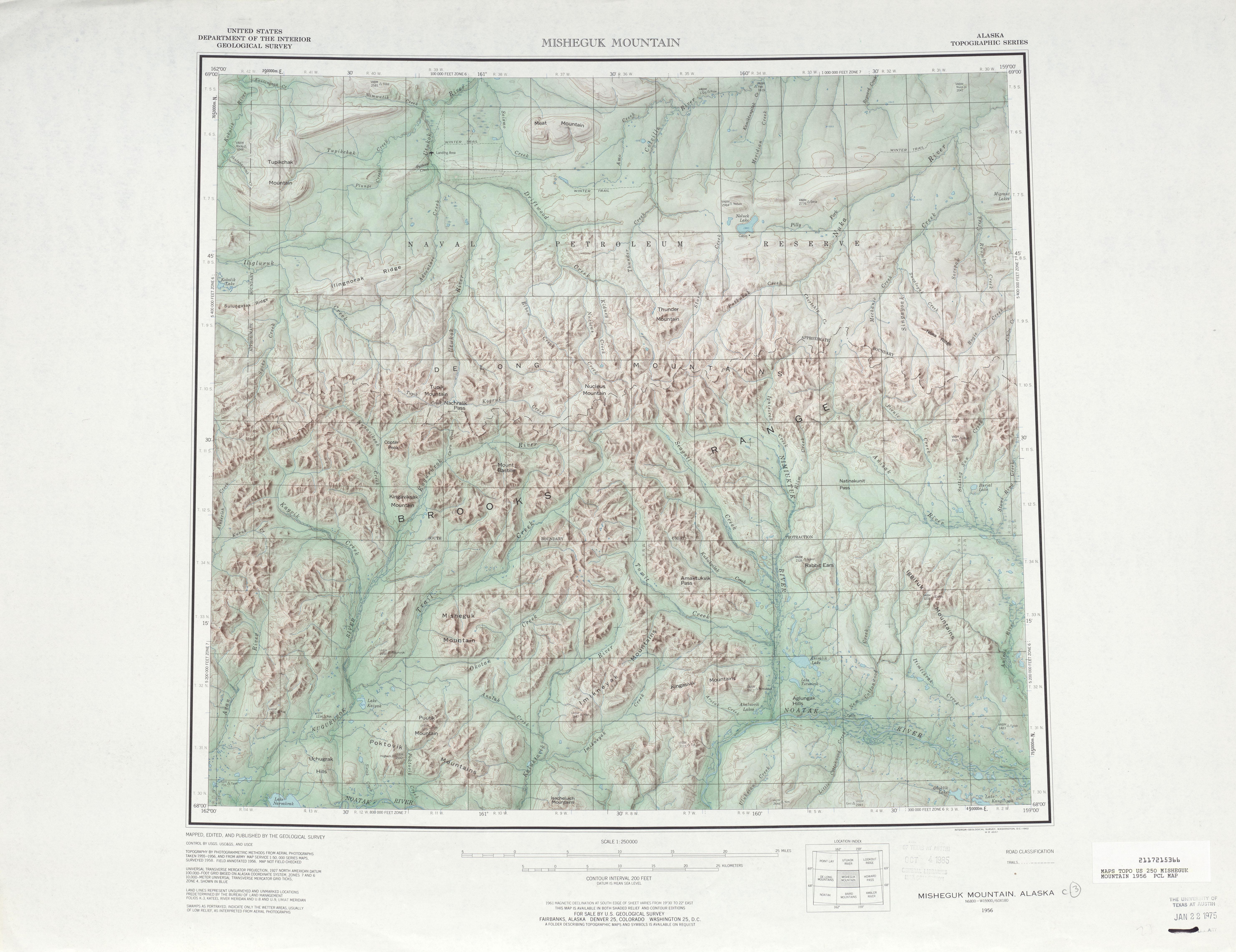 Hoja Misheguk Mountain del Mapa de Relieve Sombreado de los Estados Unidos 1956