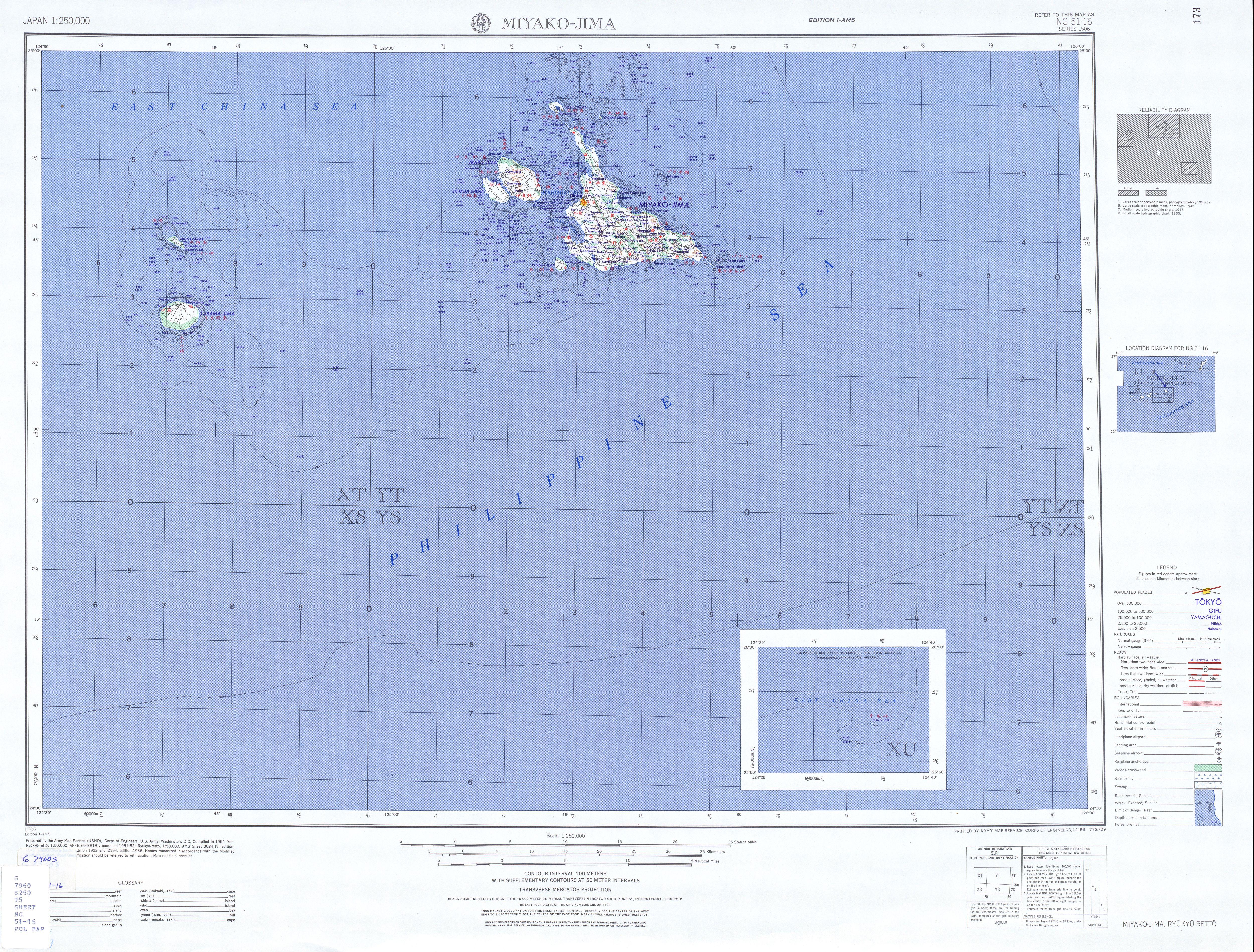 Miyako-Jima Topographic Map Sheet, Japan 1954