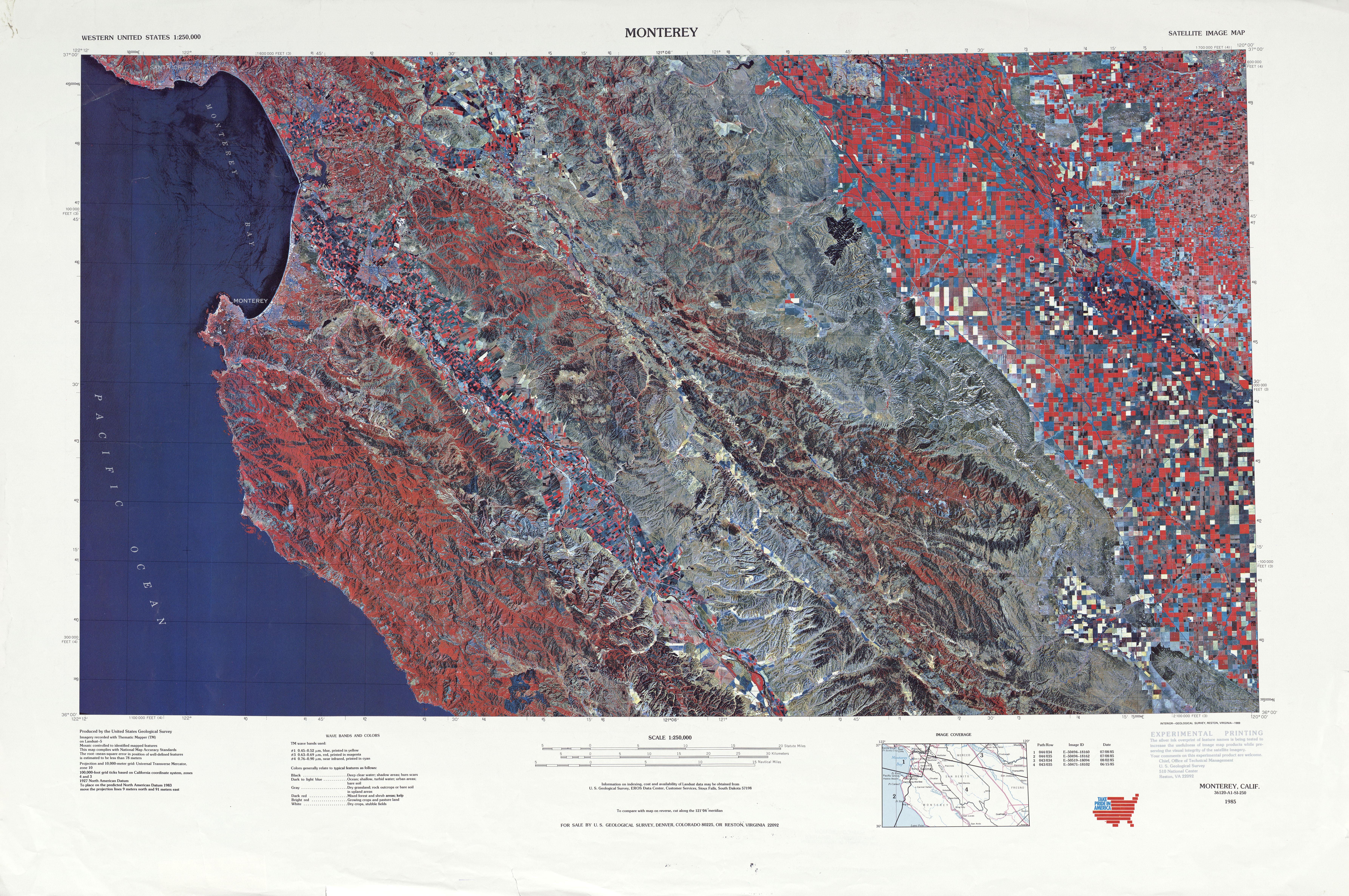 Hoja Monterey de la Imagen Satelital de los Estados Unidos 1985