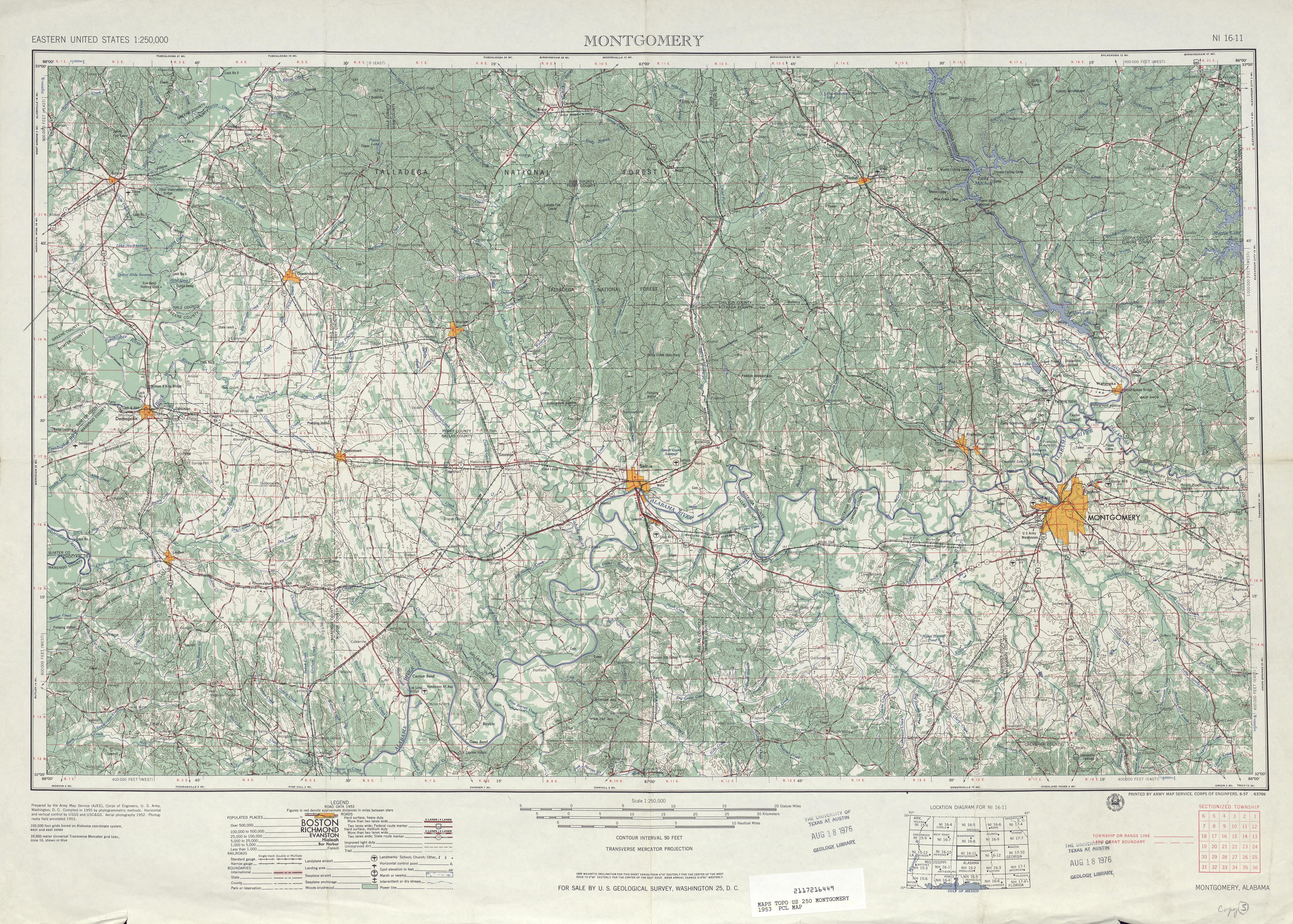 Hoja Montgomery del Mapa Topográfico de los Estados Unidos 1953