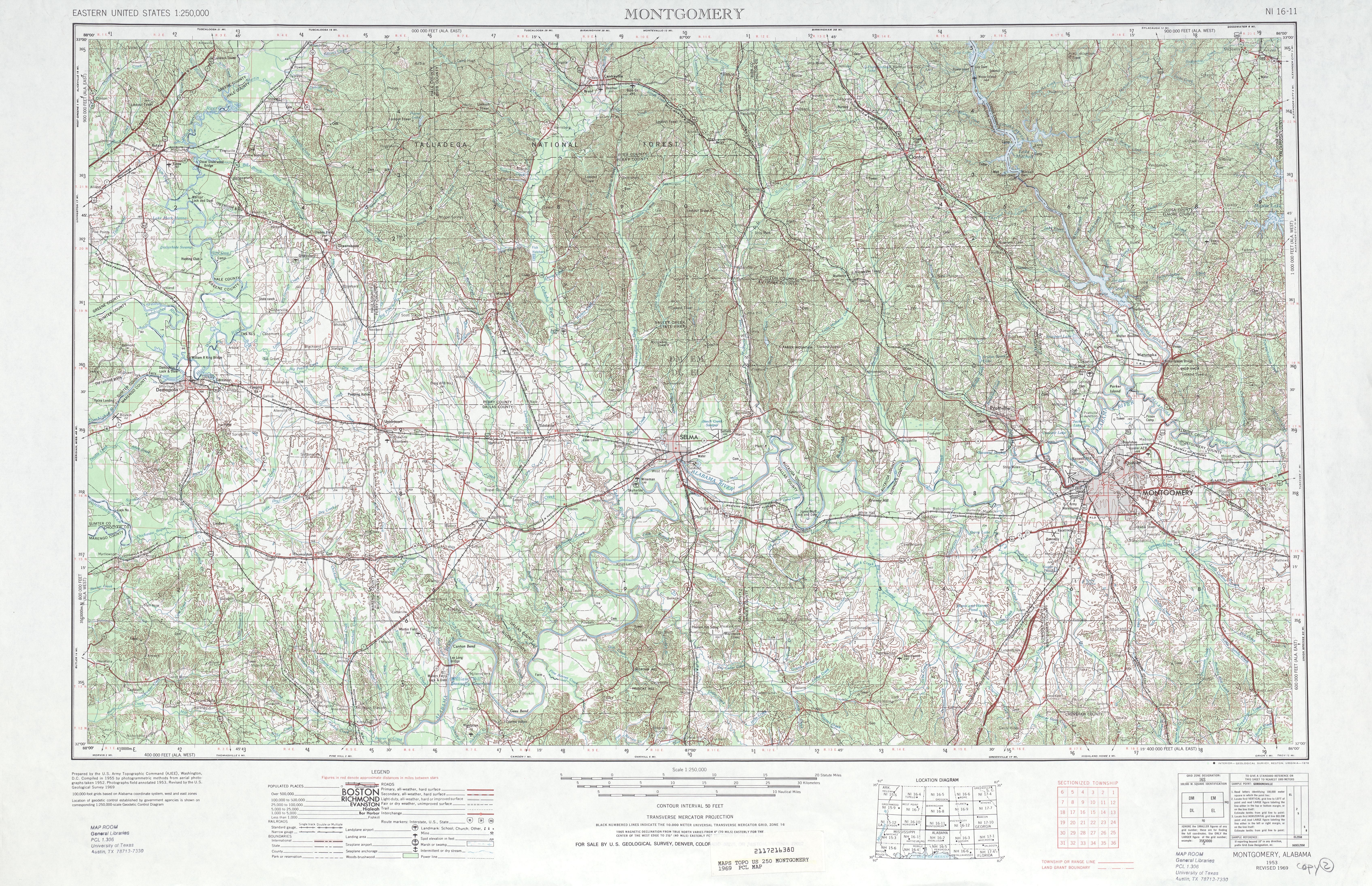 Hoja Montgomery del Mapa Topográfico de los Estados Unidos 1969
