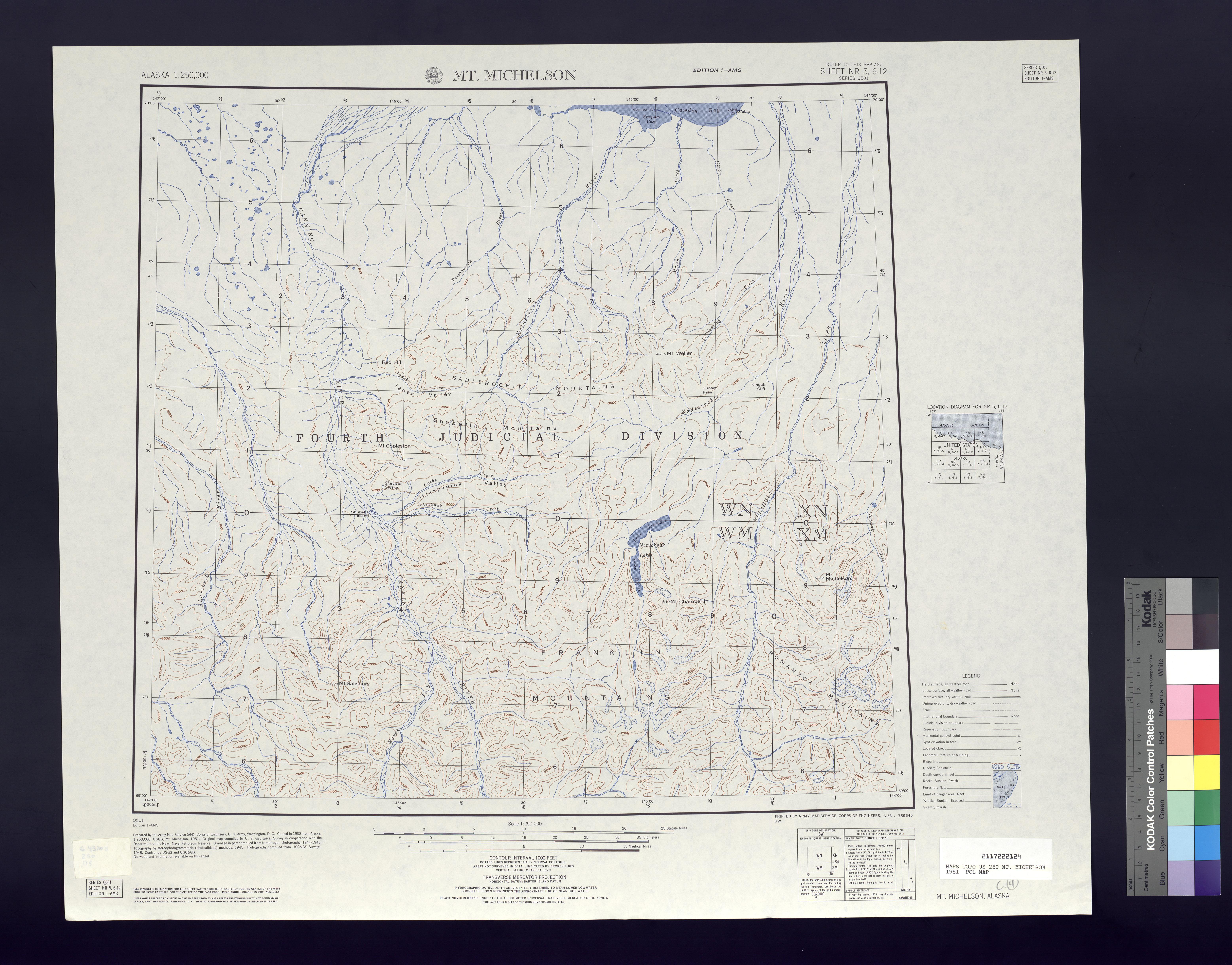 Hoja Mt. Michelson del Mapa Topográfico de los Estados Unidos 1951