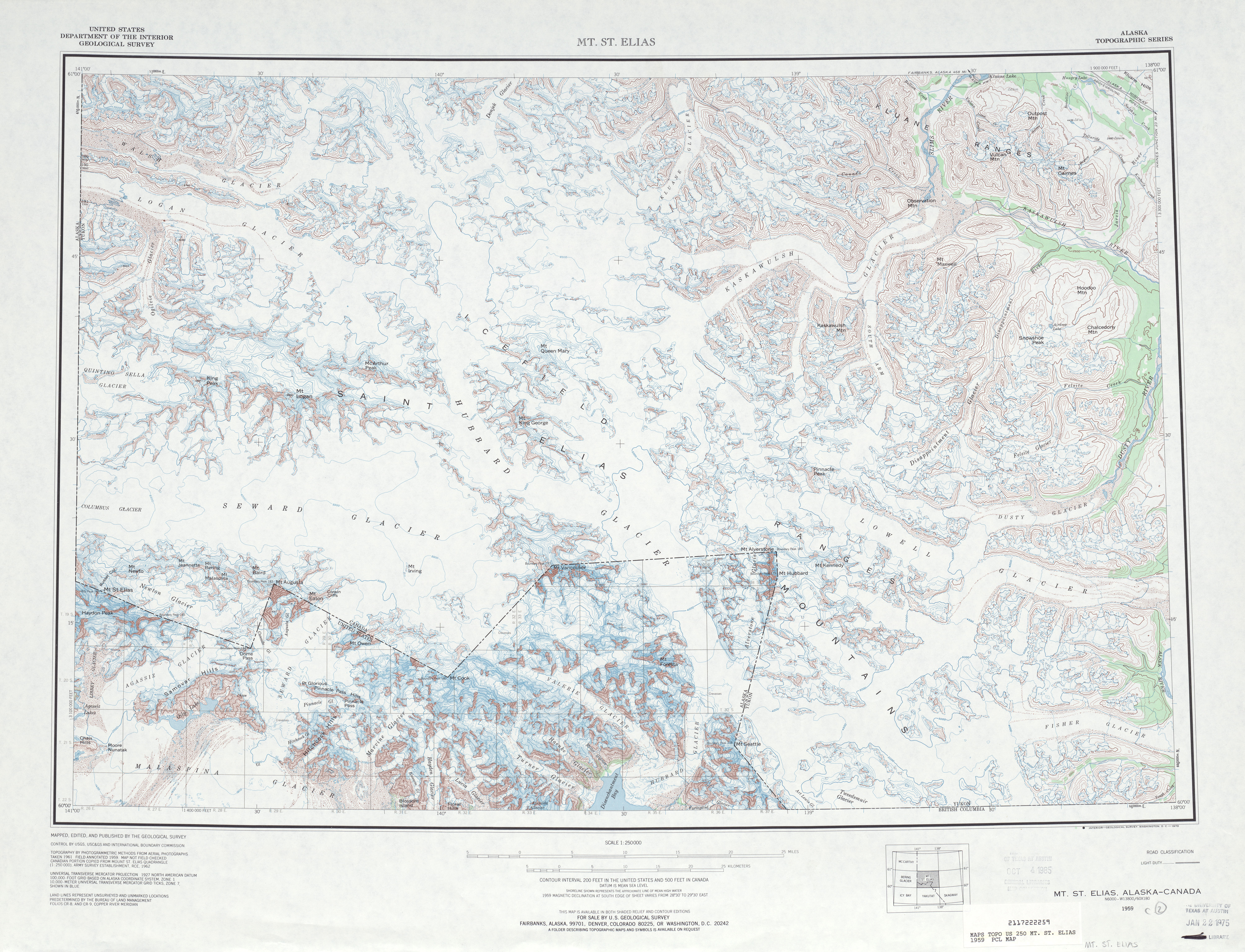 Mt. St Elias Topographic Map Sheet, United States 1959