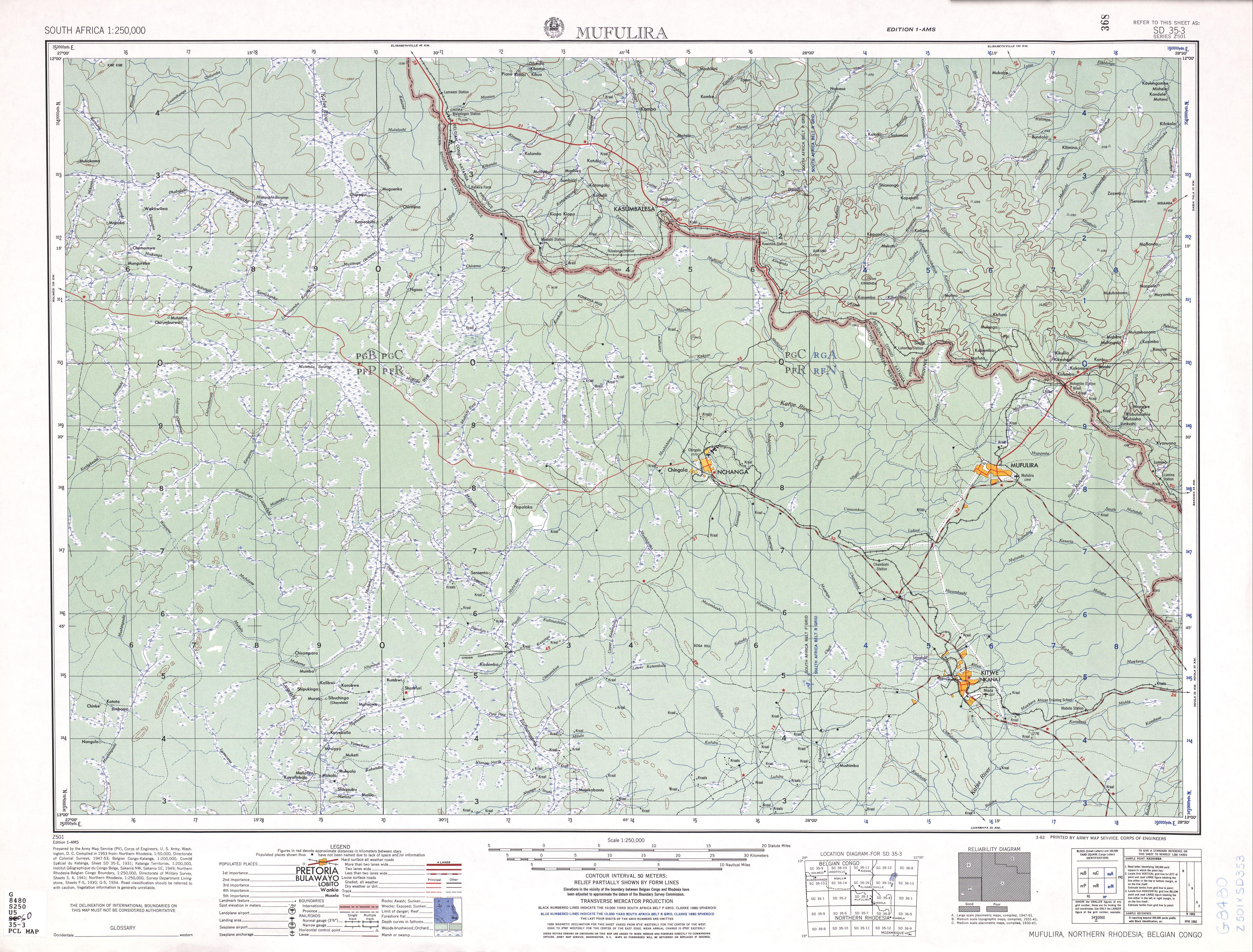 Hoja Mufulira del Mapa Topográfico de África Meridional 1954